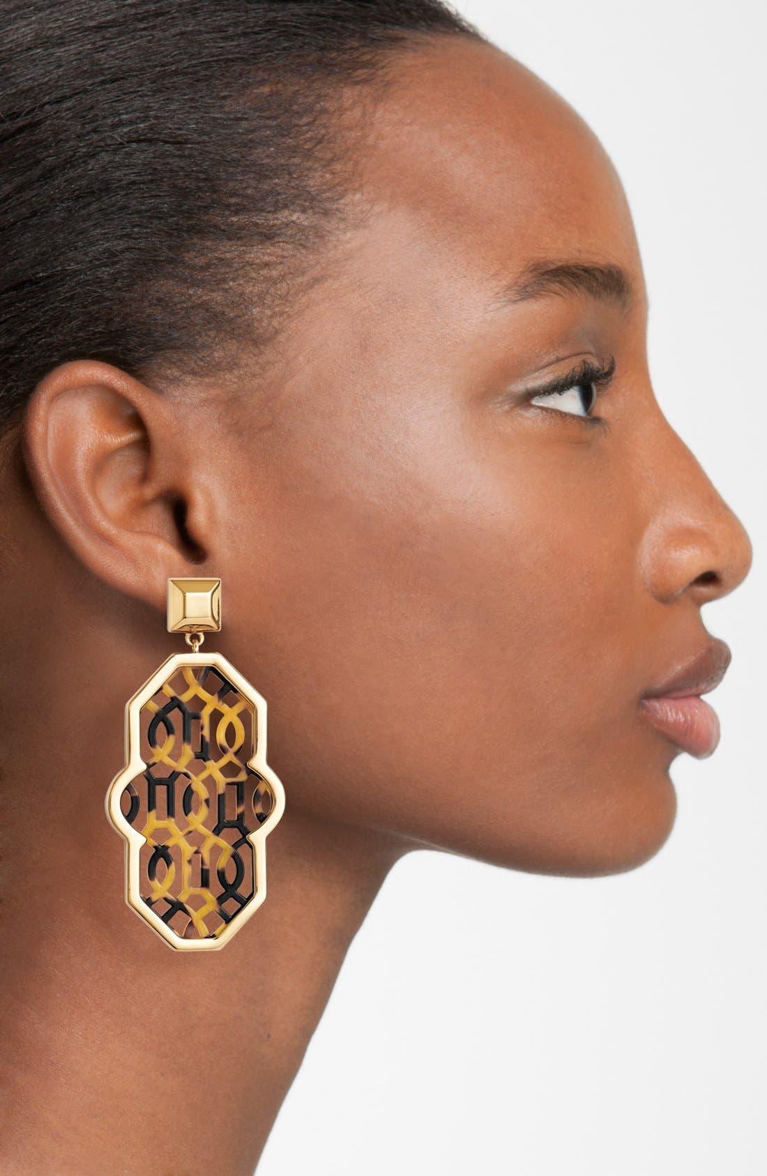 Alternate Image 2  - Tory Burch 'Chantal' Perforated Lattice Earrings