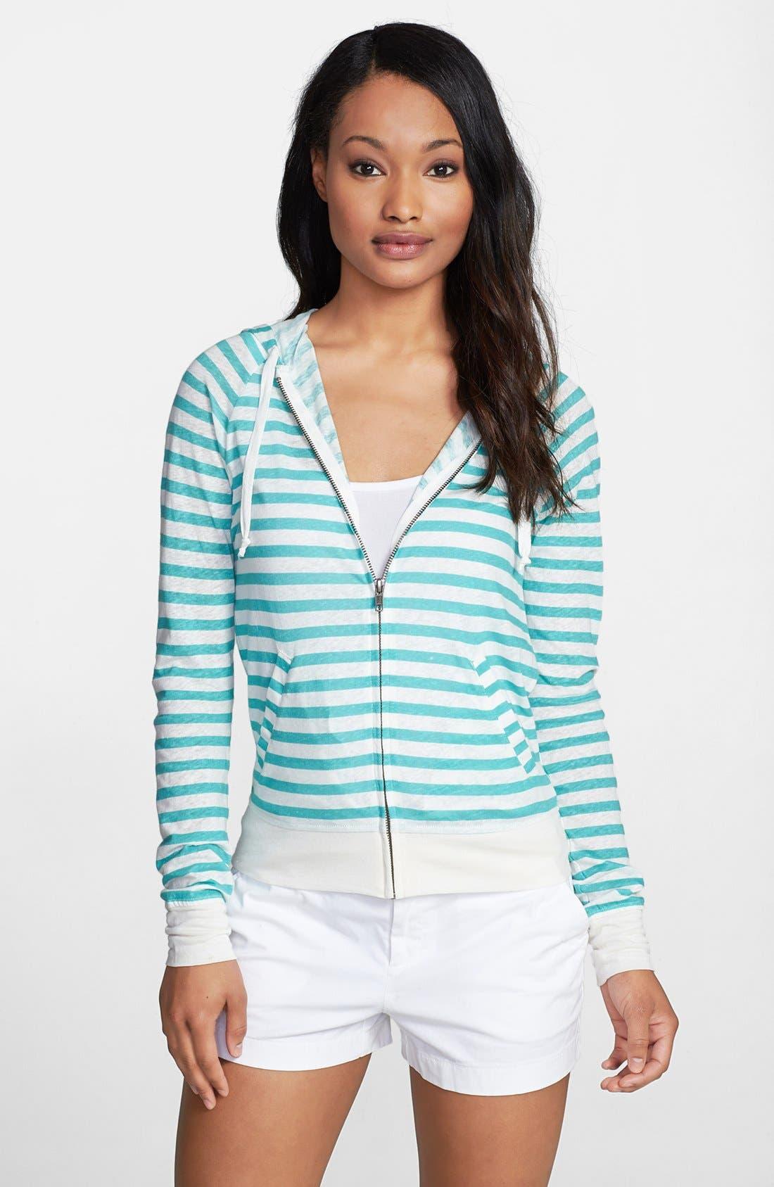 Main Image - Caslon® Long Sleeve Linen Blend Zip Hoodie