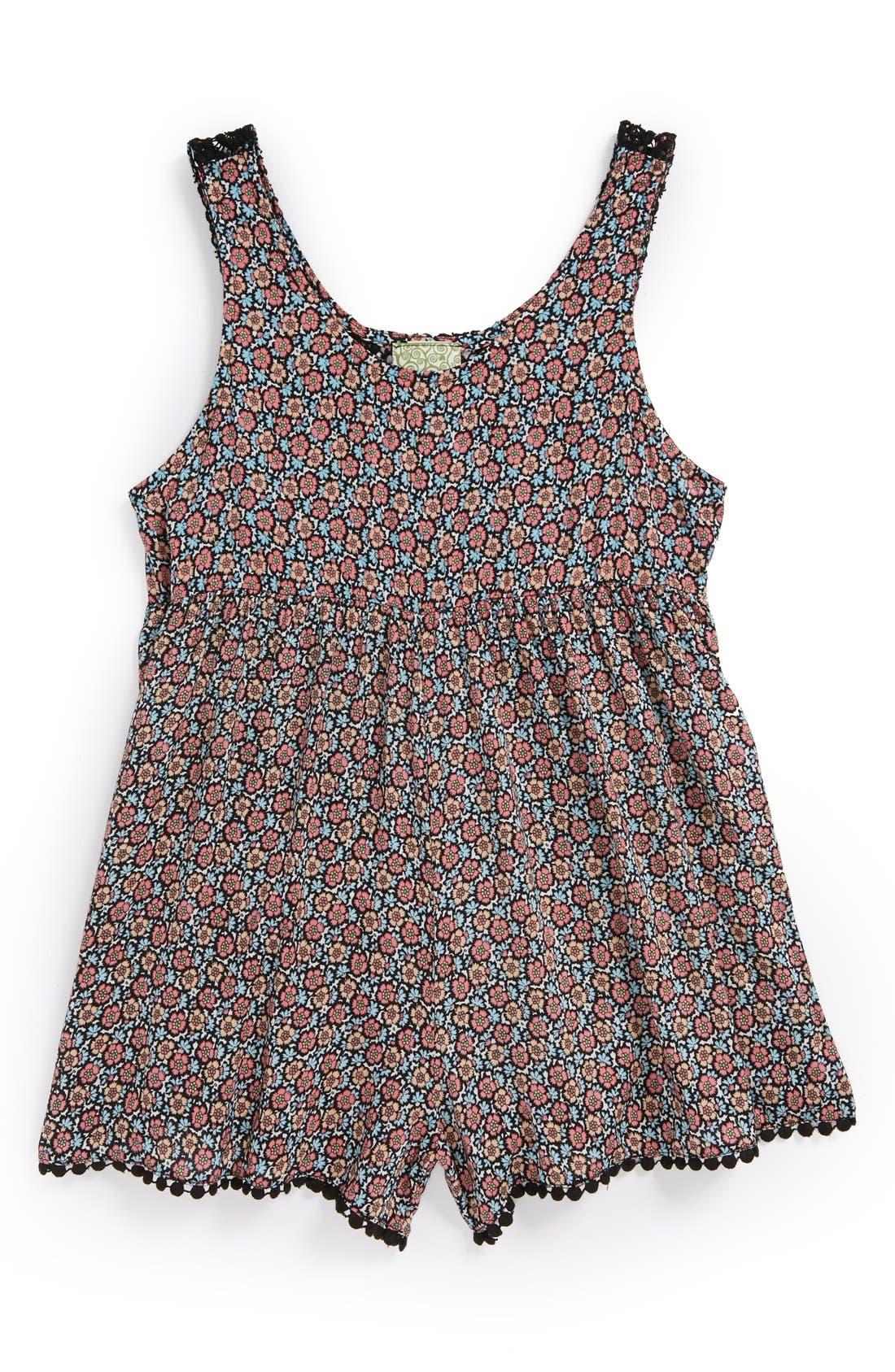 Alternate Image 1 Selected - Kiddo Crochet Back Romper (Big Girls)