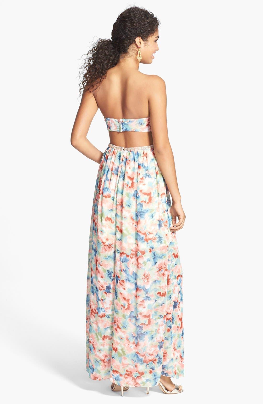 Alternate Image 2  - a. drea Floral Cutout Gown (Juniors)