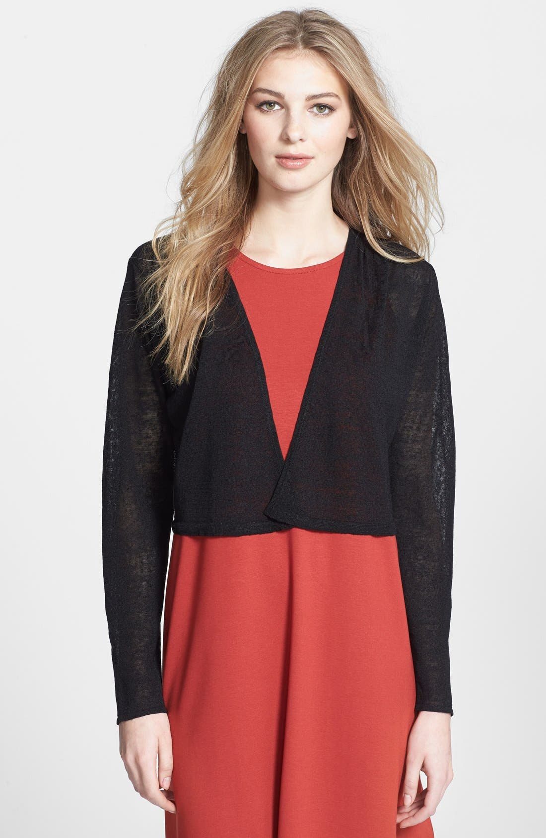 Alternate Image 1 Selected - Eileen Fisher Linen Blend Cropped Cardigan