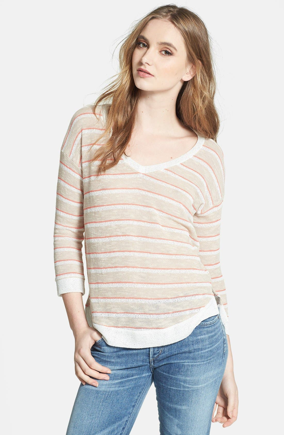 Alternate Image 1 Selected - Splendid Stripe V-Neck Sweater