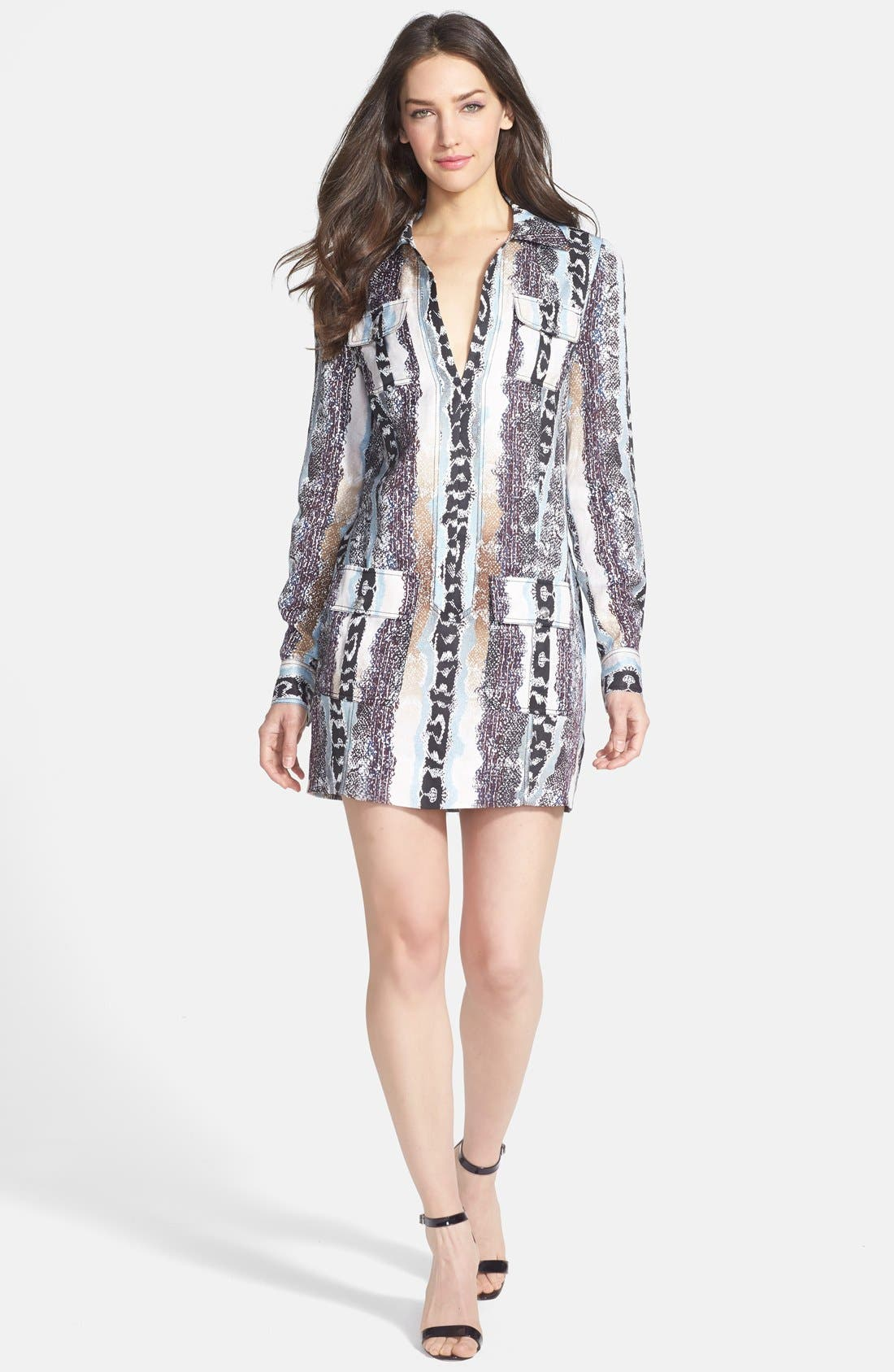 Alternate Image 1 Selected - Diane von Furstenberg 'Dilly' Linen & Silk Shirtdress