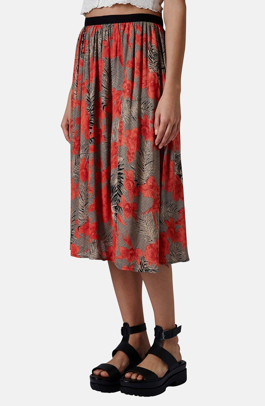 Floral Split Midi Skirt,                             Main thumbnail 1, color,                             Tan Multi