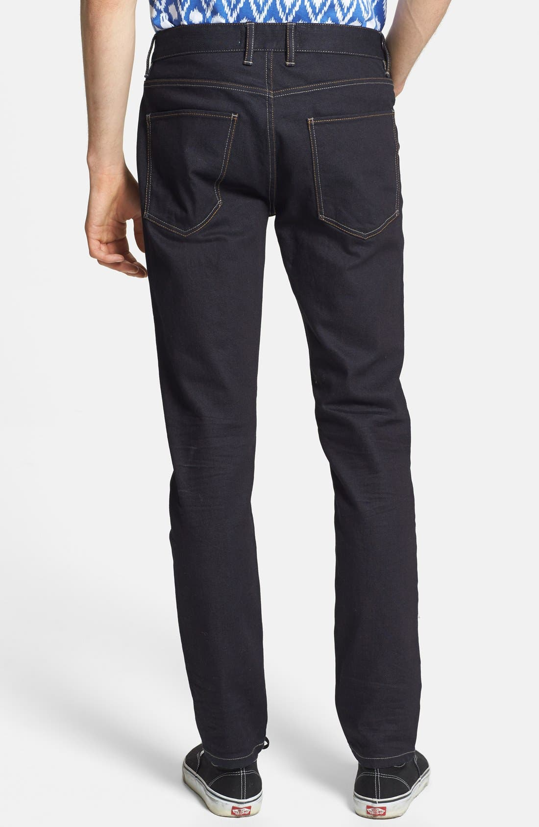 Alternate Image 2  - Topman Coated Stretch Skinny Fit Jeans (Dark Blue)