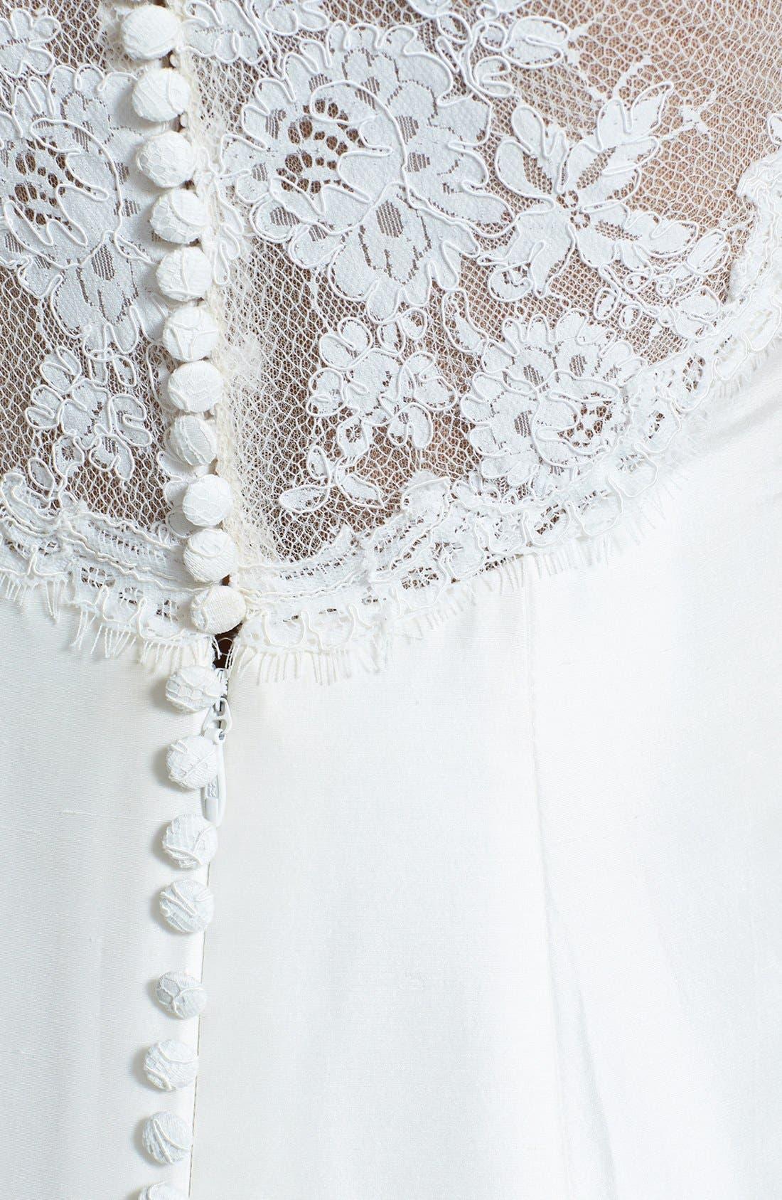 Alternate Image 3  - Olia Zavozina Emma Lace Inset Ruffled Silk Shantung Mermaid Dress