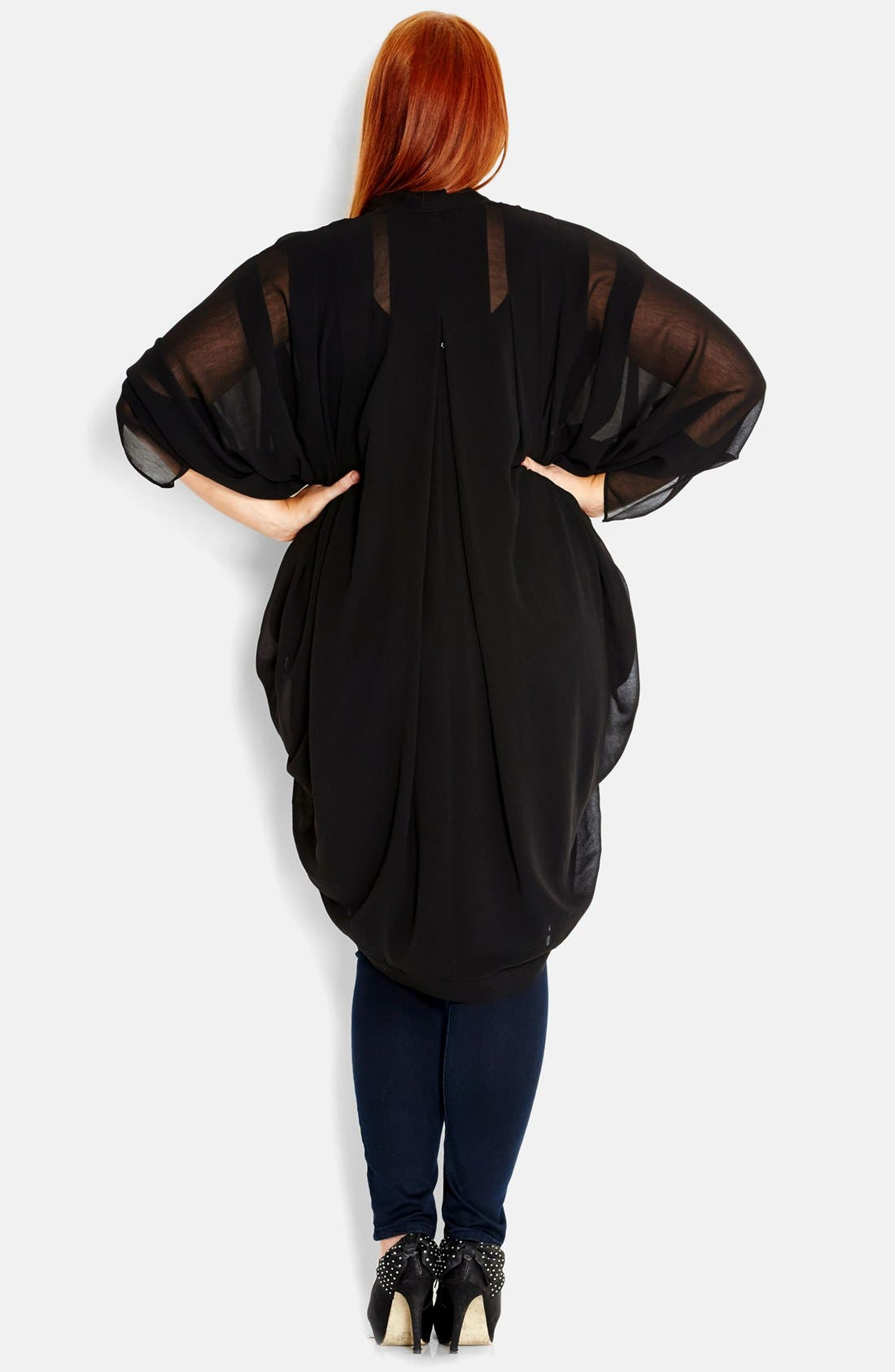 Alternate Image 2  - City Chic Chiffon Kimono Jacket (Plus Size)