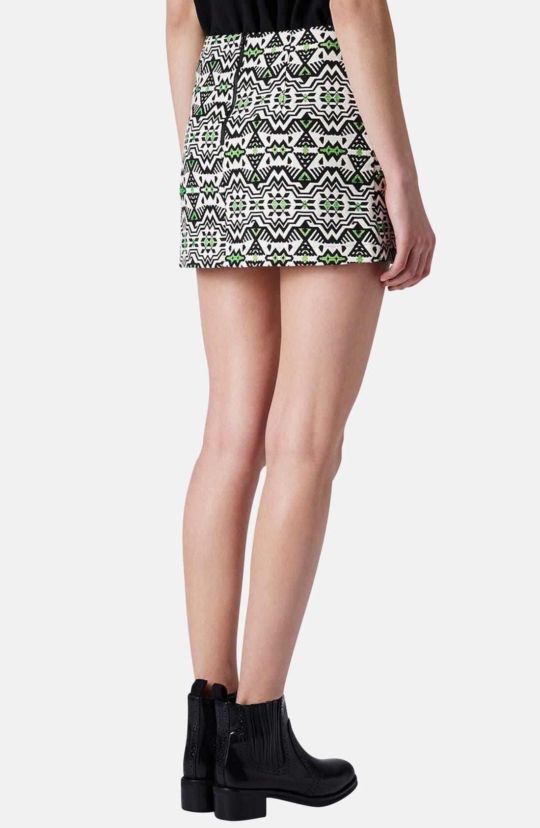 Alternate Image 2  - Topshop Geo Jacquard Miniskirt