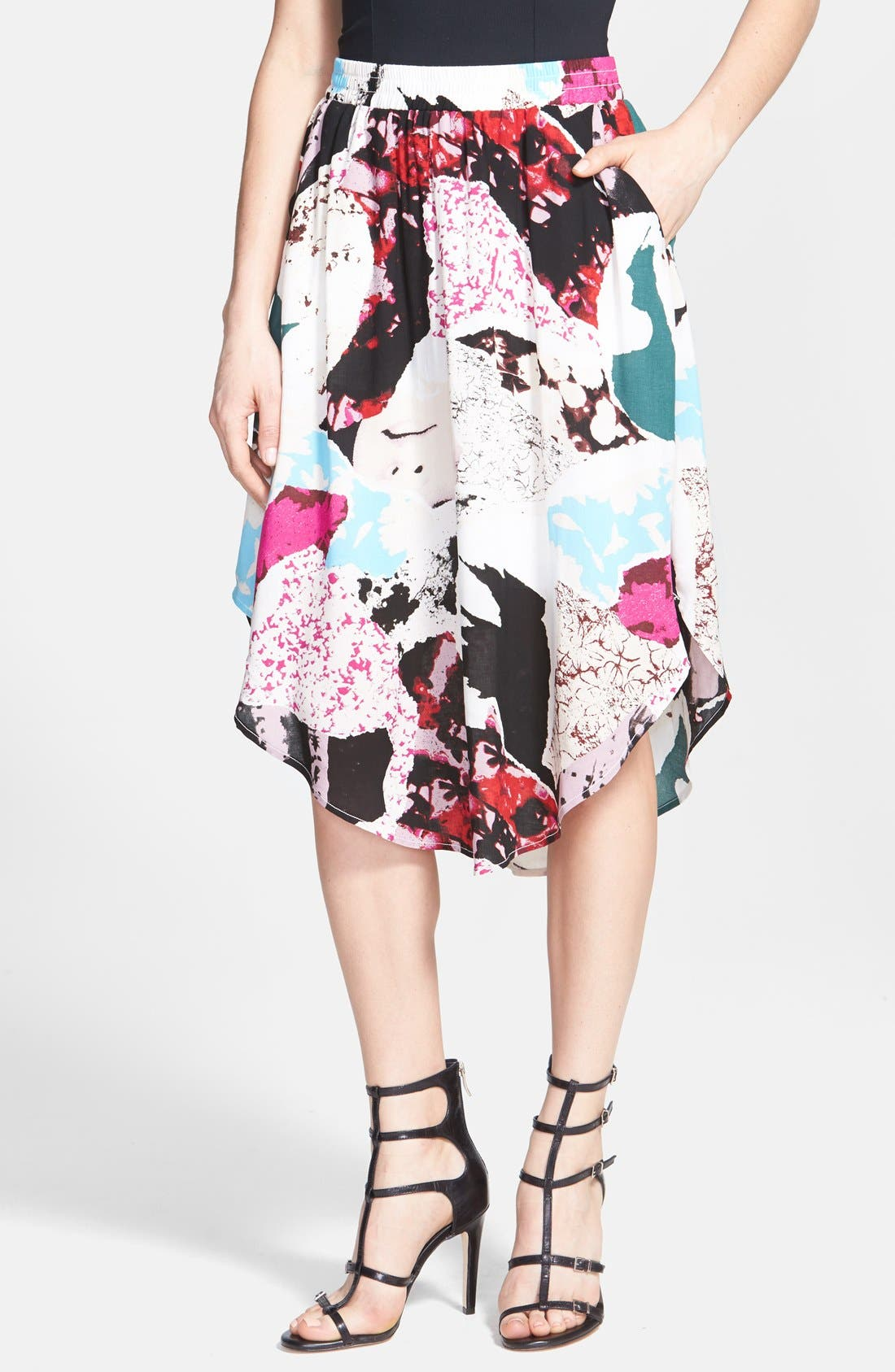 Alternate Image 1 Selected - Tildon 'Shirttail' Floral Print Skirt