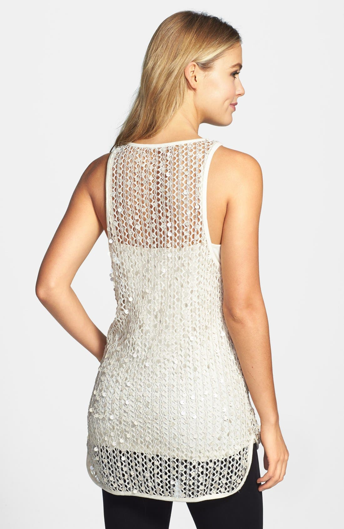 Alternate Image 2  - Vince Camuto Paillette Mesh Tank (Regular & Petite)