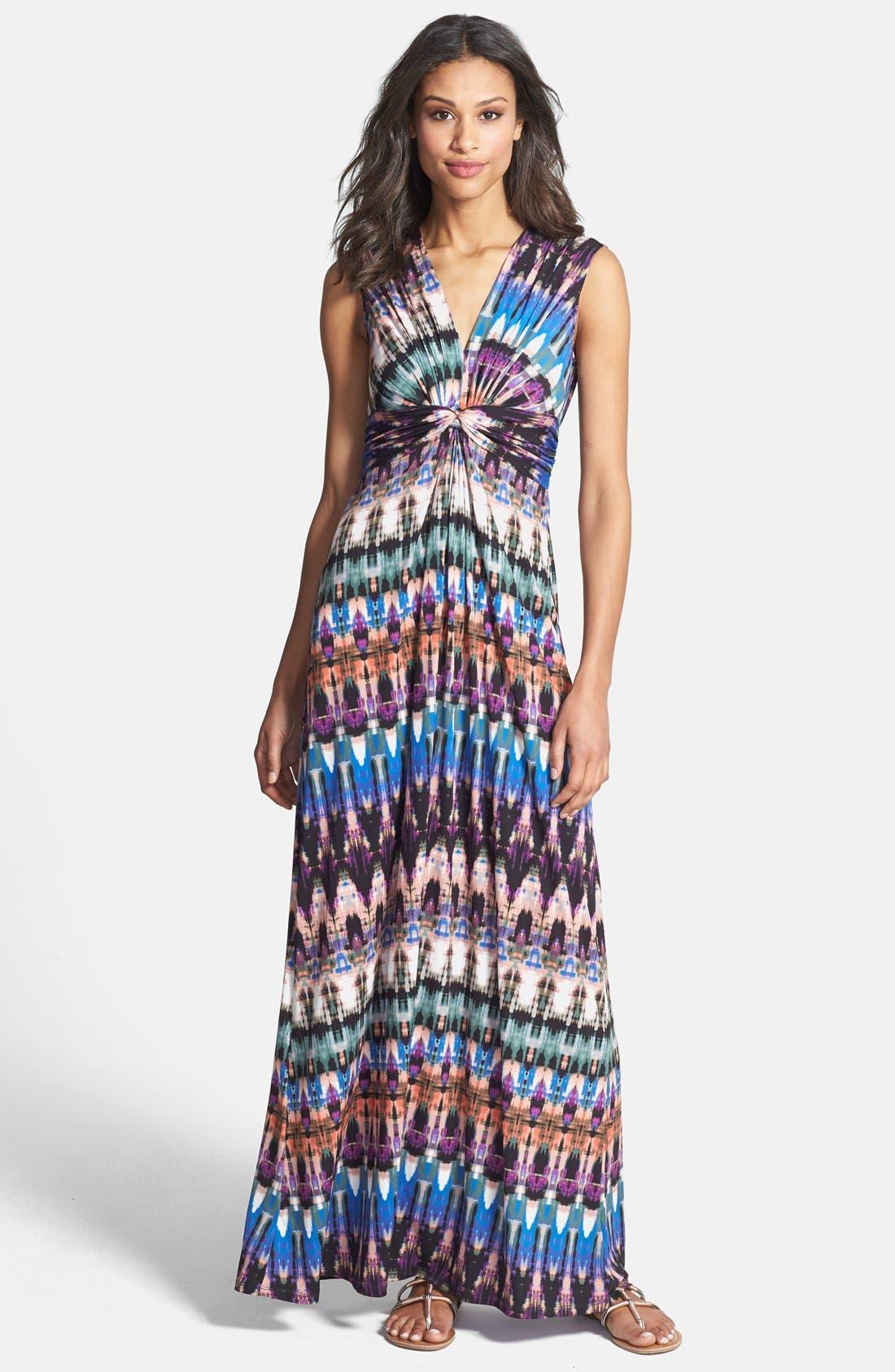 Main Image - Eliza J Print Front Knot Jersey Maxi Dress