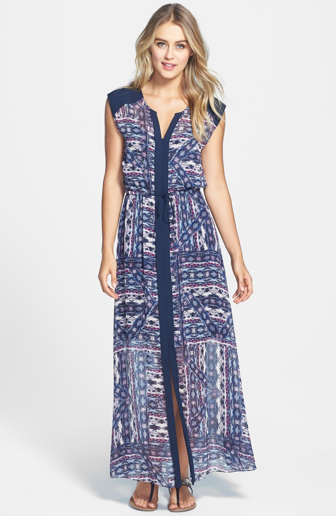 Alternate Image 1 Selected - Vince Camuto 'Tribal Patchwork' Tie Waist Maxi Dress (Regular & Petite)