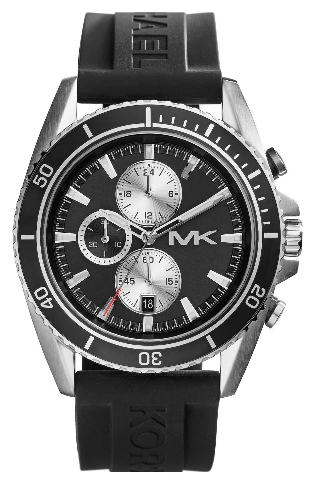 Alternate Image 1 Selected - Michael Kors 'Lansing' Chronograph Silicone Strap Watch, 45mm