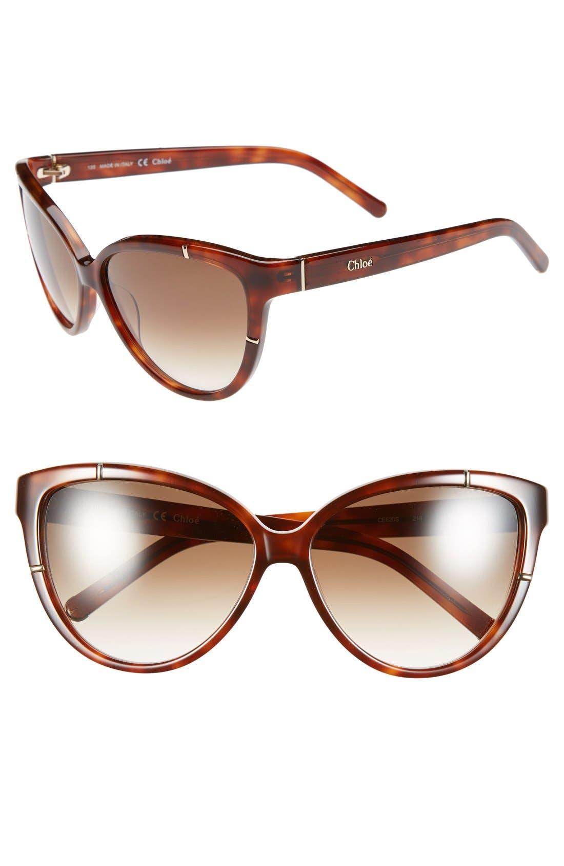 Alternate Image 1 Selected - Chloé 59mm Cat Eye Sunglasses