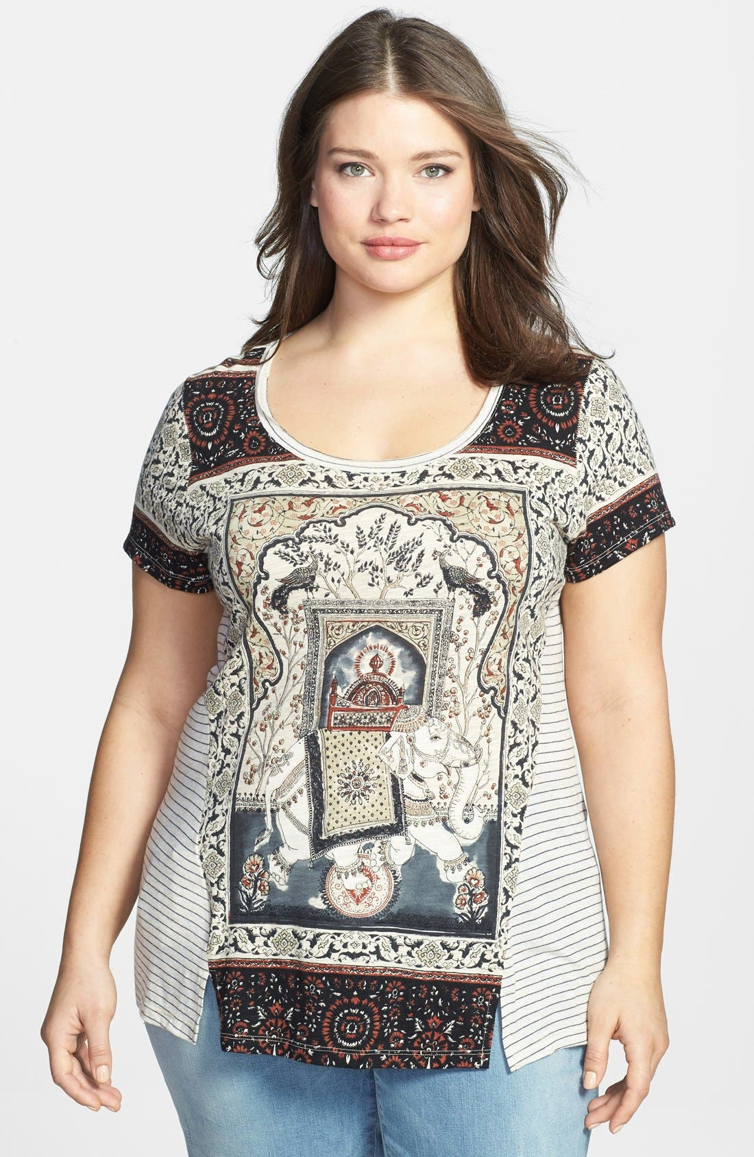 Alternate Image 1 Selected - Lucky Brand 'Indian Palace' Tee (Plus Size)