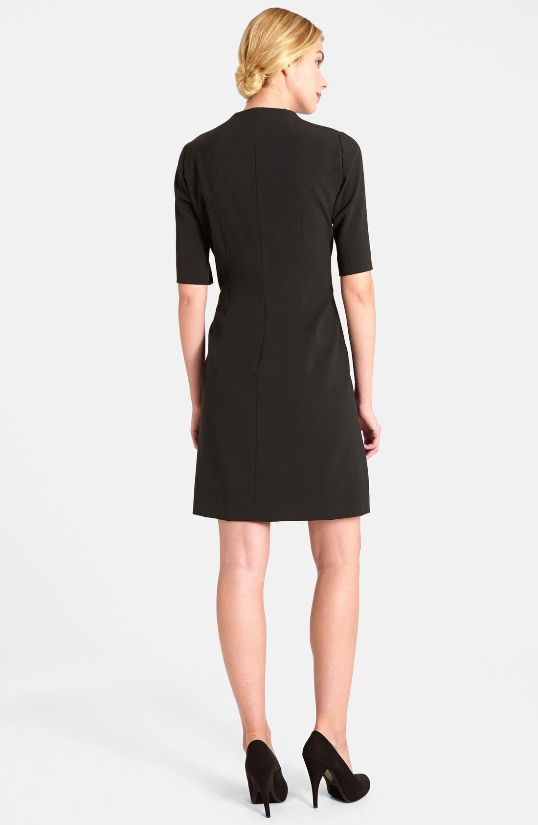 Alternate Image 2  - Tahari Elbow Sleeve Front Zip Sheath Dress