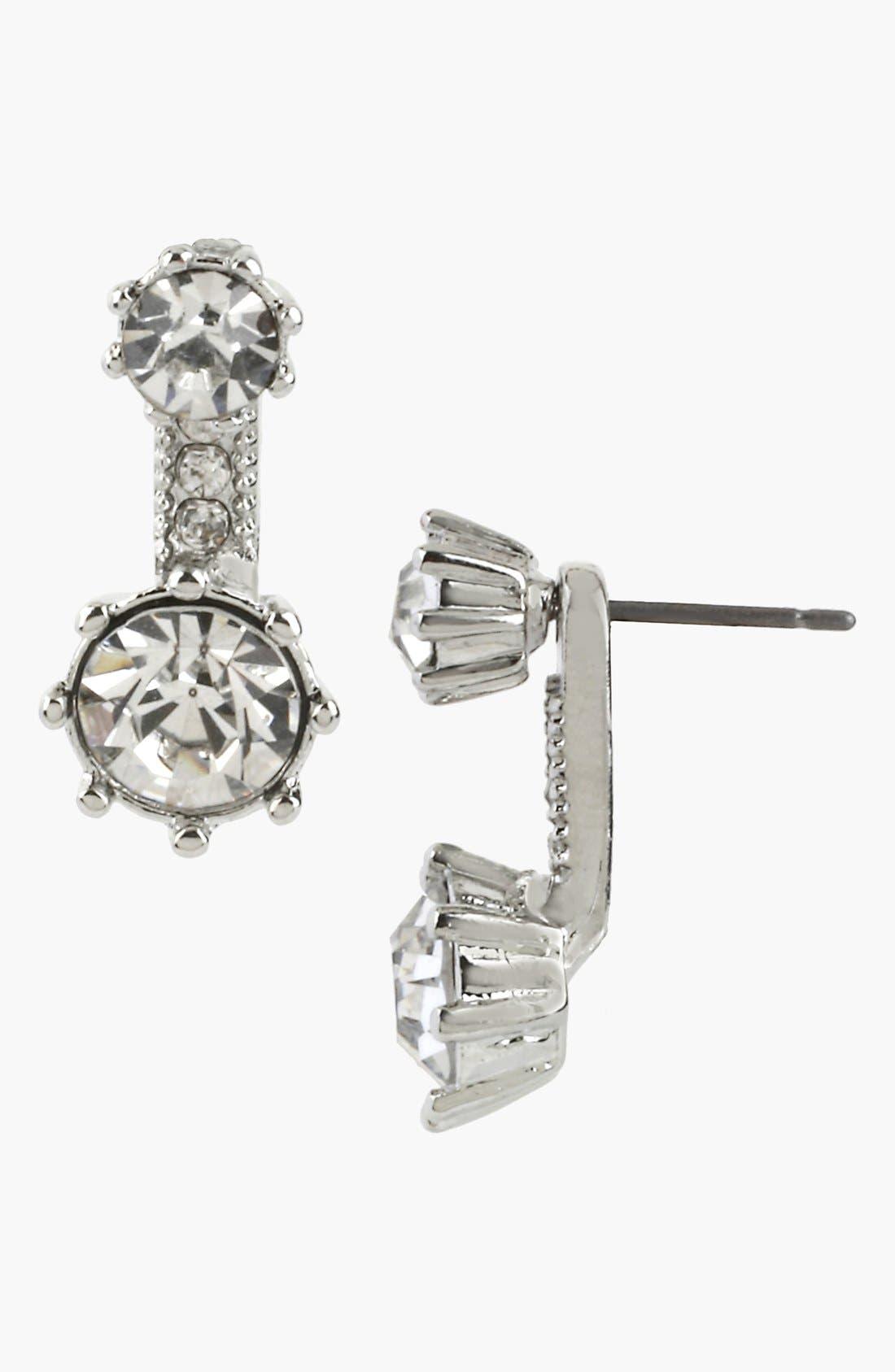 Alternate Image 1 Selected - Betsey Johnson 'Pretty Punk Pearl' Crystal Drop Earrings