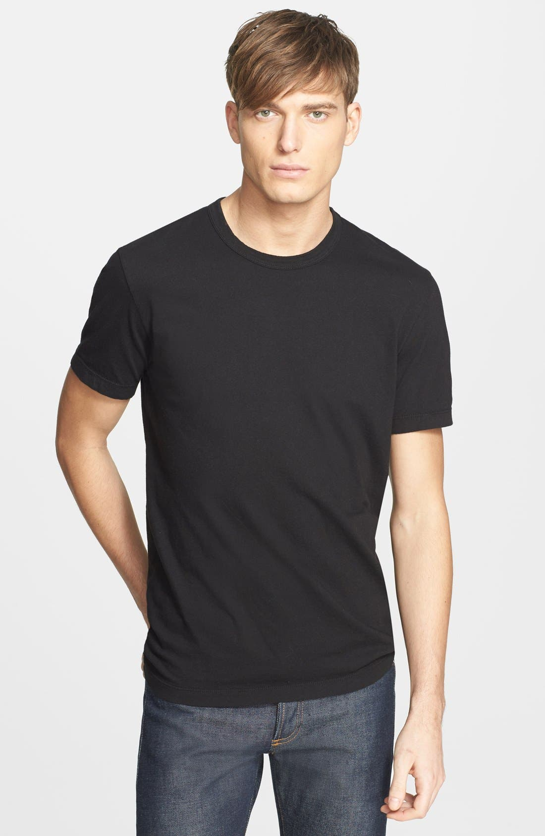 Crewneck Jersey T-Shirt,                         Main,                         color, Black
