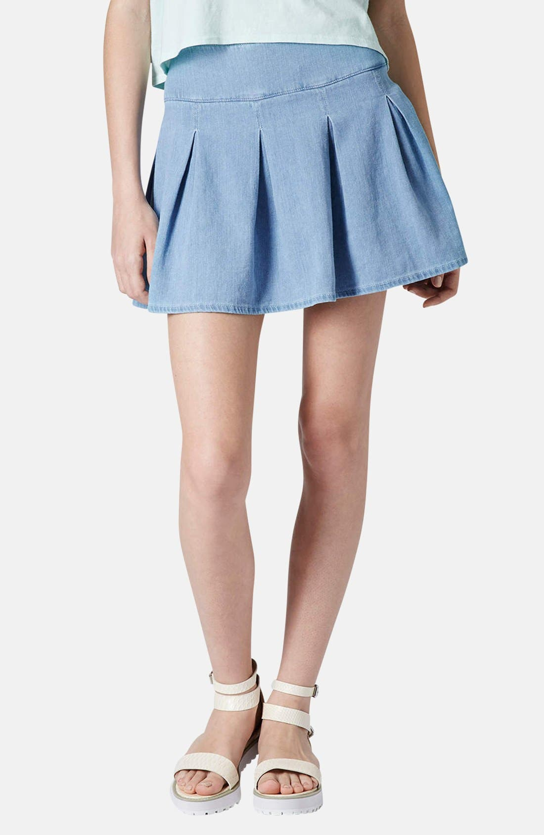 Moto Pleat Denim Skirt,                             Main thumbnail 1, color,                             Blue