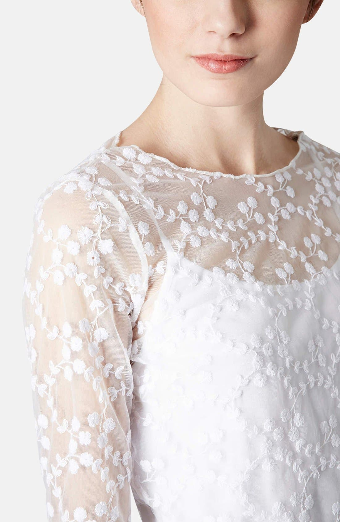 Alternate Image 4  - Topshop Embroidered Floral Mesh Top