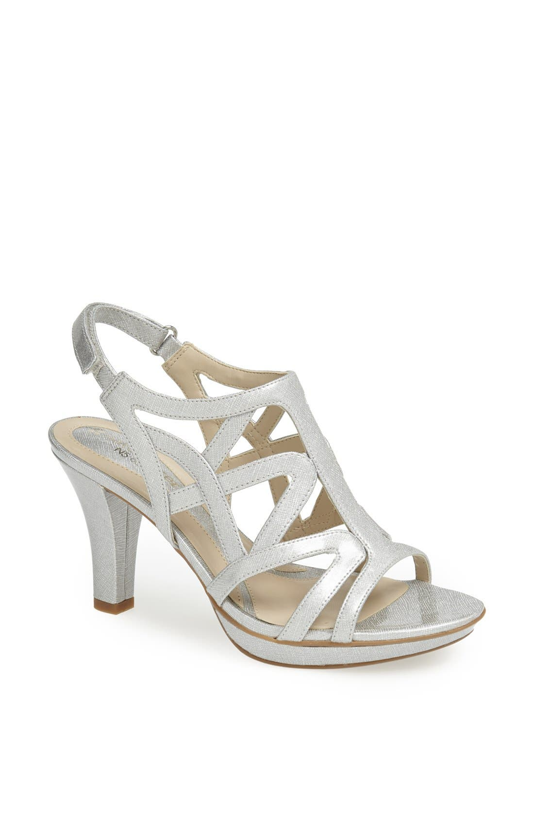 'Danya' Sandal,                         Main,                         color, Silver Crosshatch