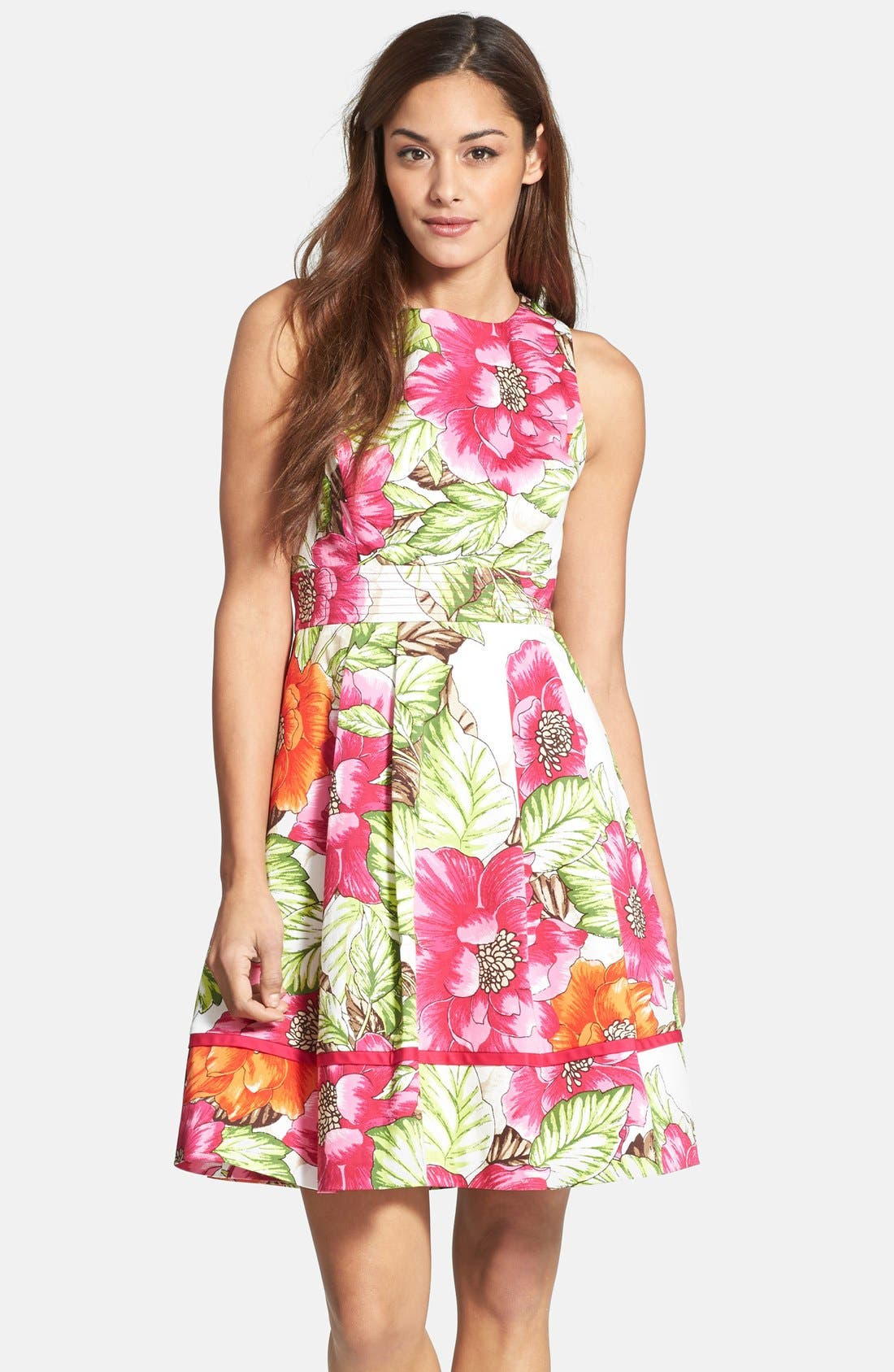 Main Image - Eliza J Floral Print Cotton Sateen Fit & Flare Dress