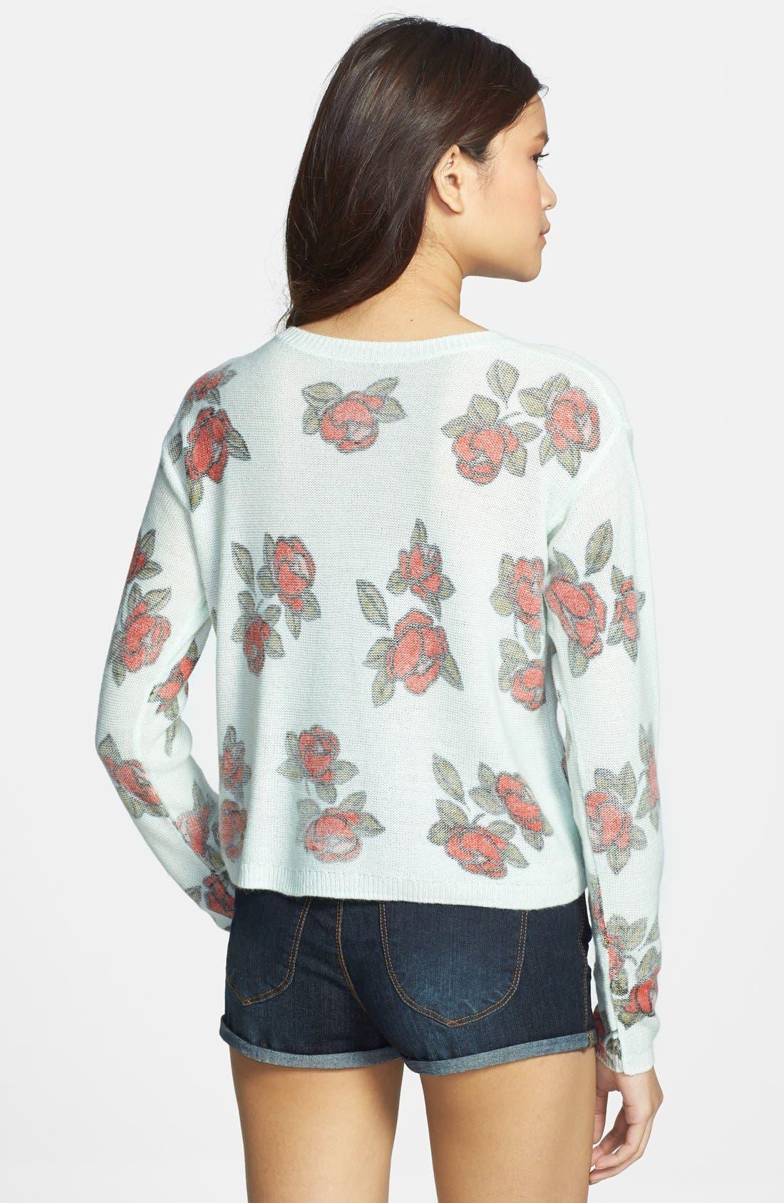 Alternate Image 2  - Frenchi® Floral Print Crop Pullover (Juniors)