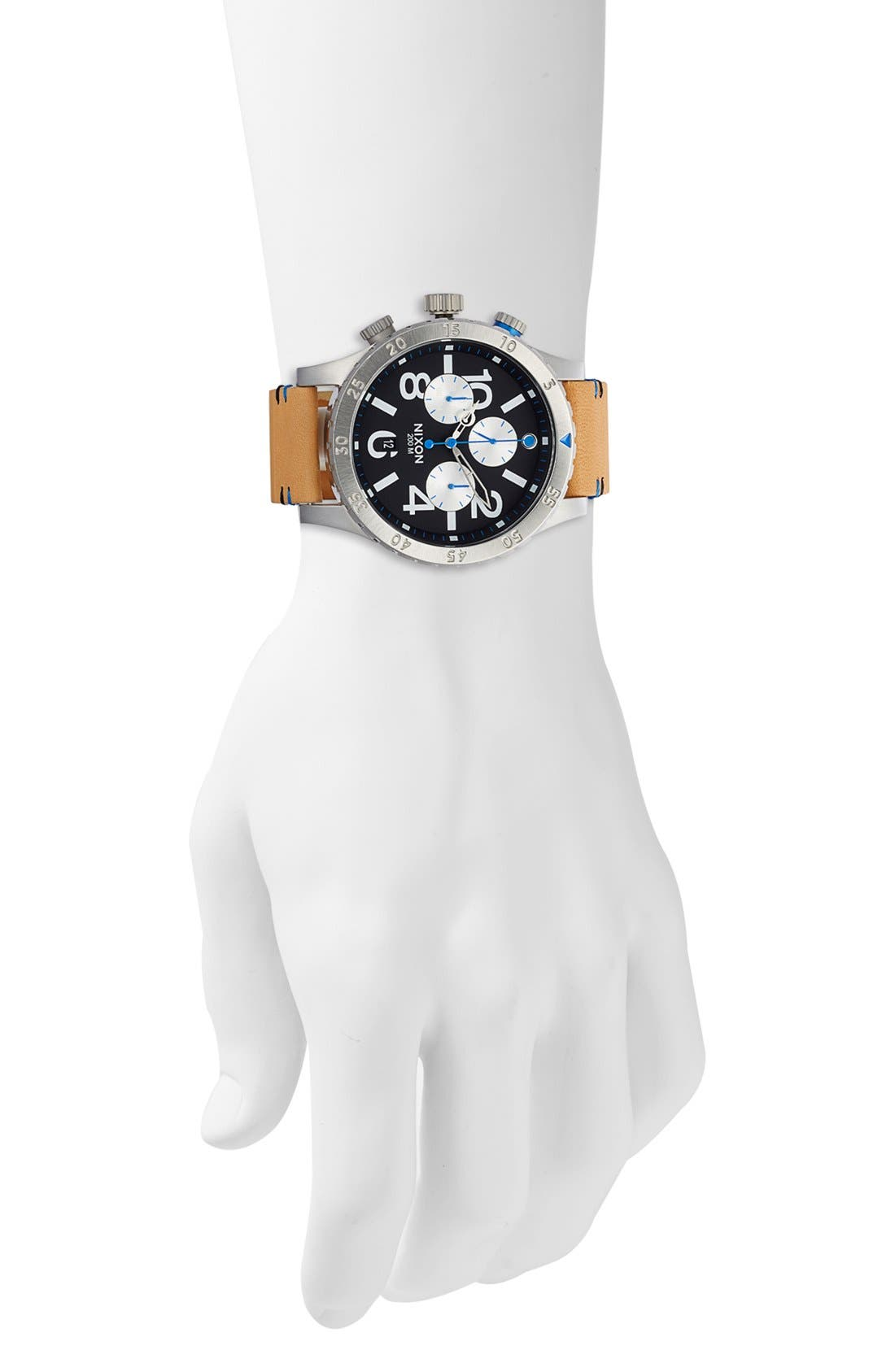 'The 48-20' Chronograph Leather Strap Watch, 48mm,                             Alternate thumbnail 4, color,                             Natural/ Black