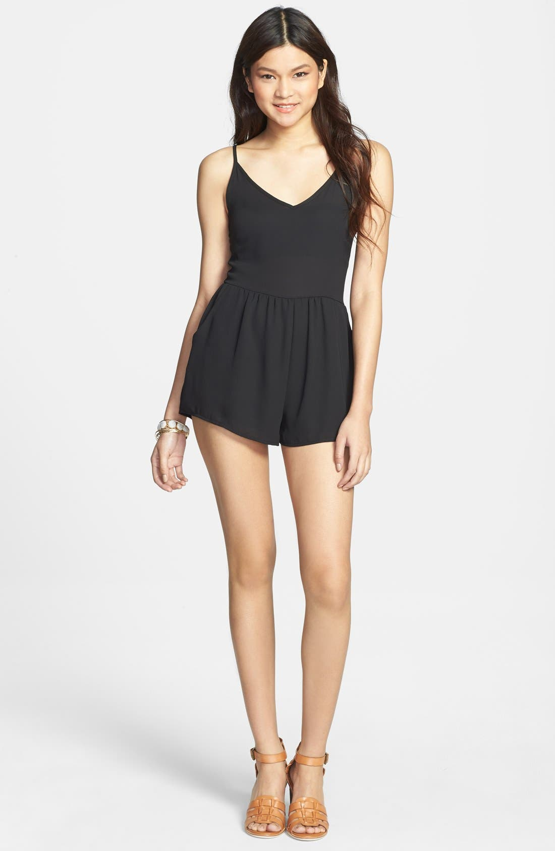 Alternate Image 1 Selected - V-Neck Woven Romper