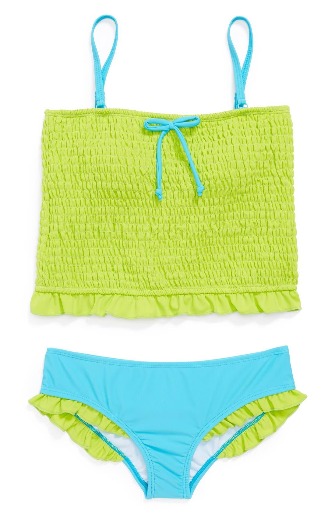 Alternate Image 1 Selected - Limeapple 'Splash' Two-Piece Tankini Swimsuit (Big Girls)