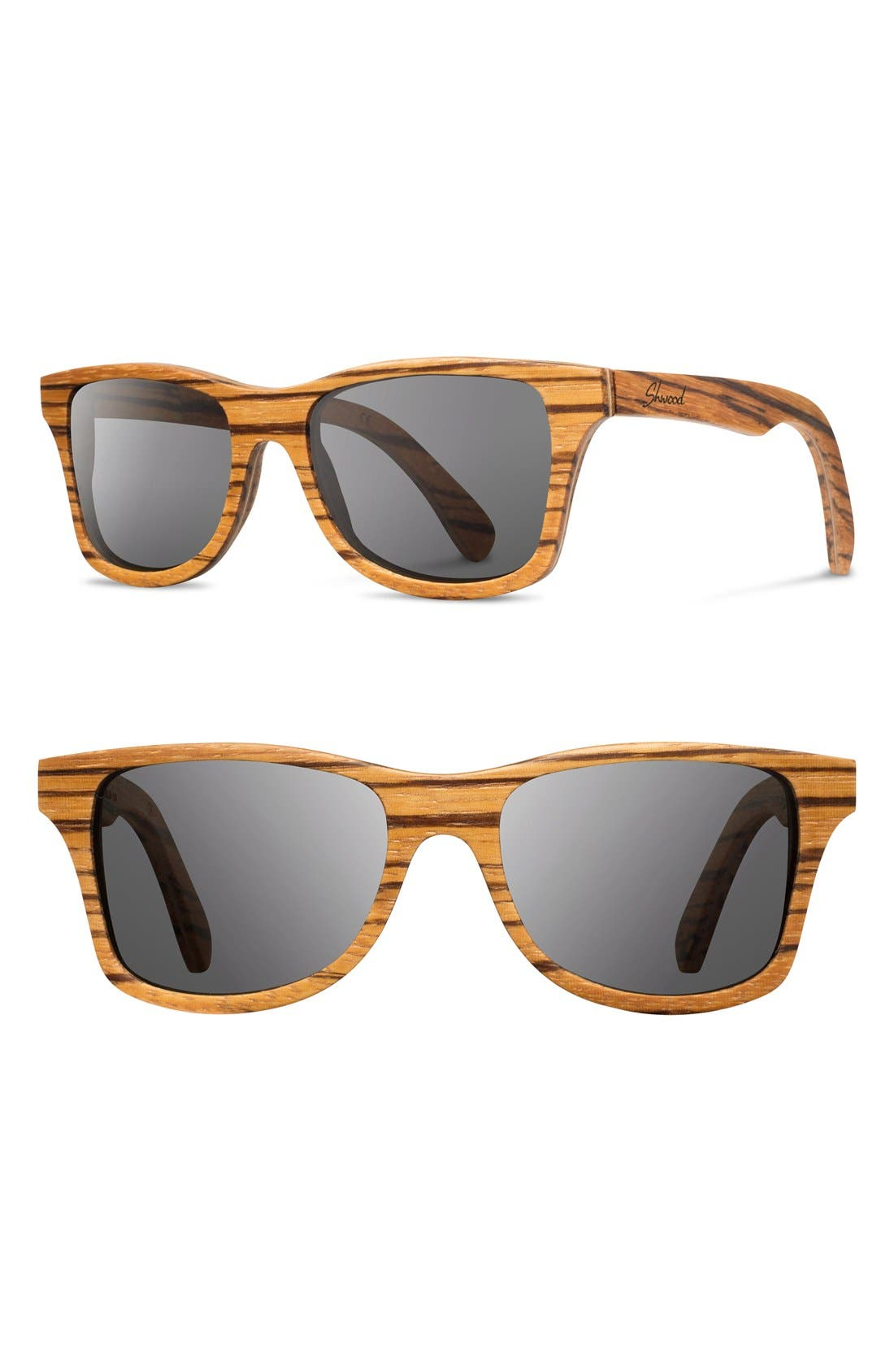 'Canby' 54mm Polarized Wood Sunglasses,                             Main thumbnail 1, color,                             Zebrawood/ Grey