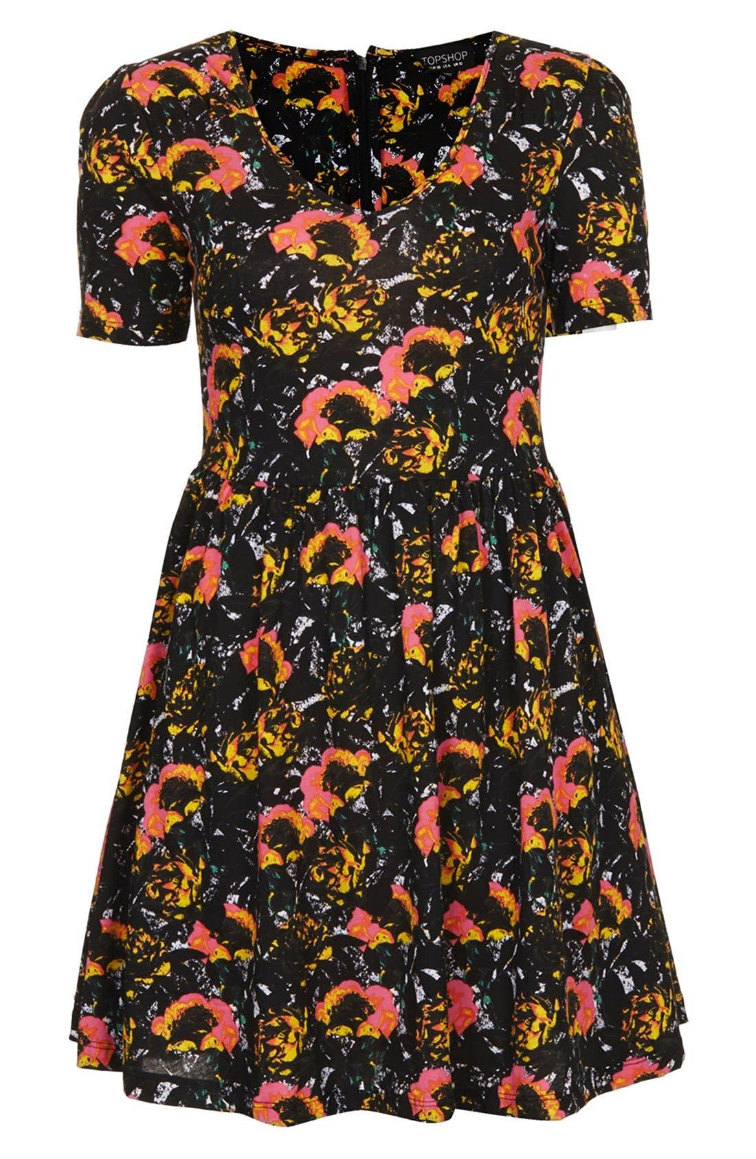 Alternate Image 3  - Topshop 'Ochre Poppy' Skater Dress