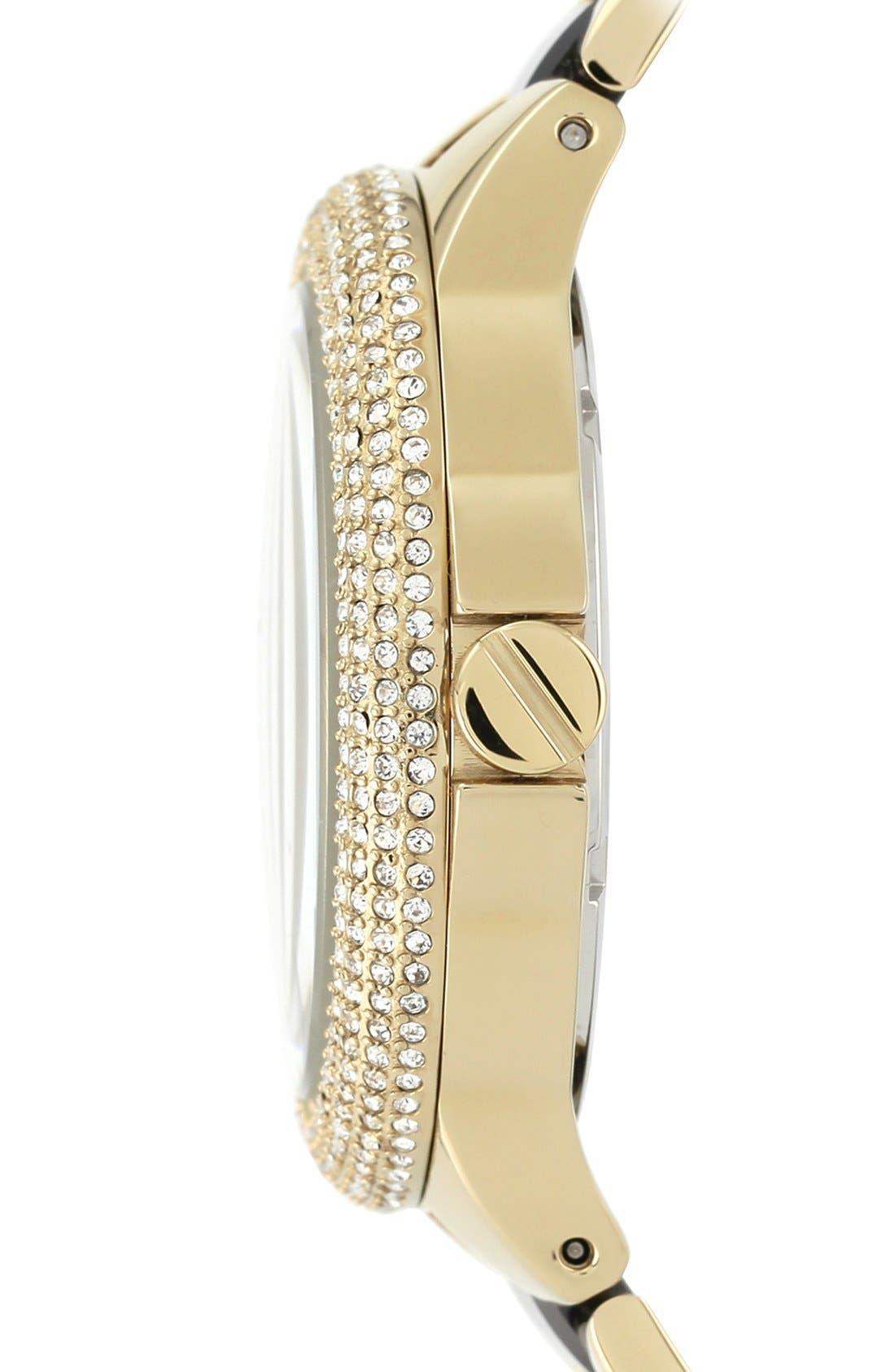 Alternate Image 3  - Vince Camuto Crystal Bezel Multifunction Ceramic Link Bracelet Watch, 42mm