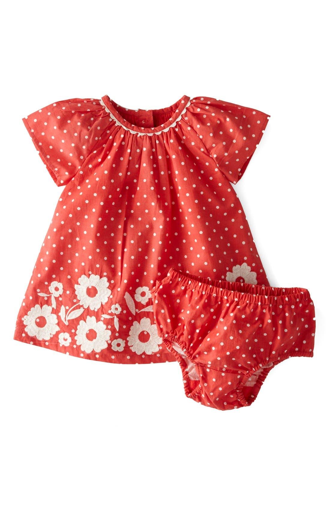 Main Image - Mini Boden Embroidered Summer Cotton Poplin A-Line Dress (Baby Girls)