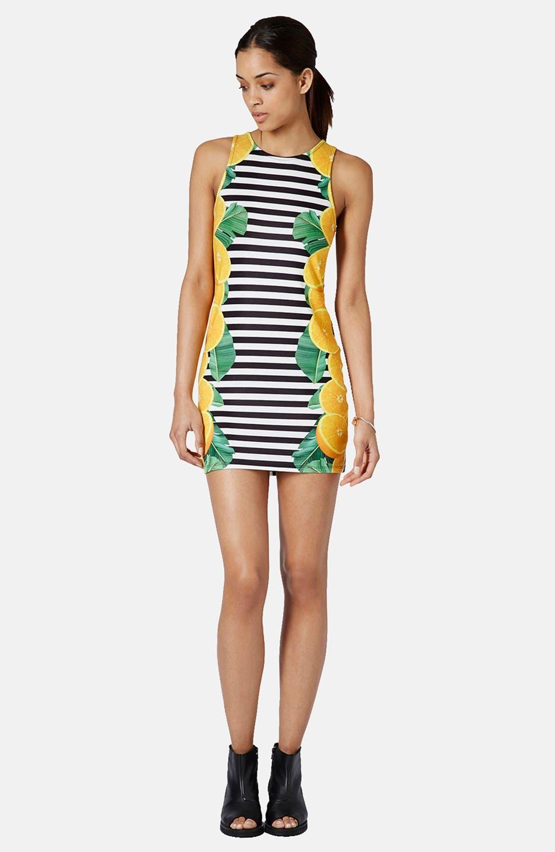 Alternate Image 5  - Topshop Lemon Stripe Print Body-Con Dress