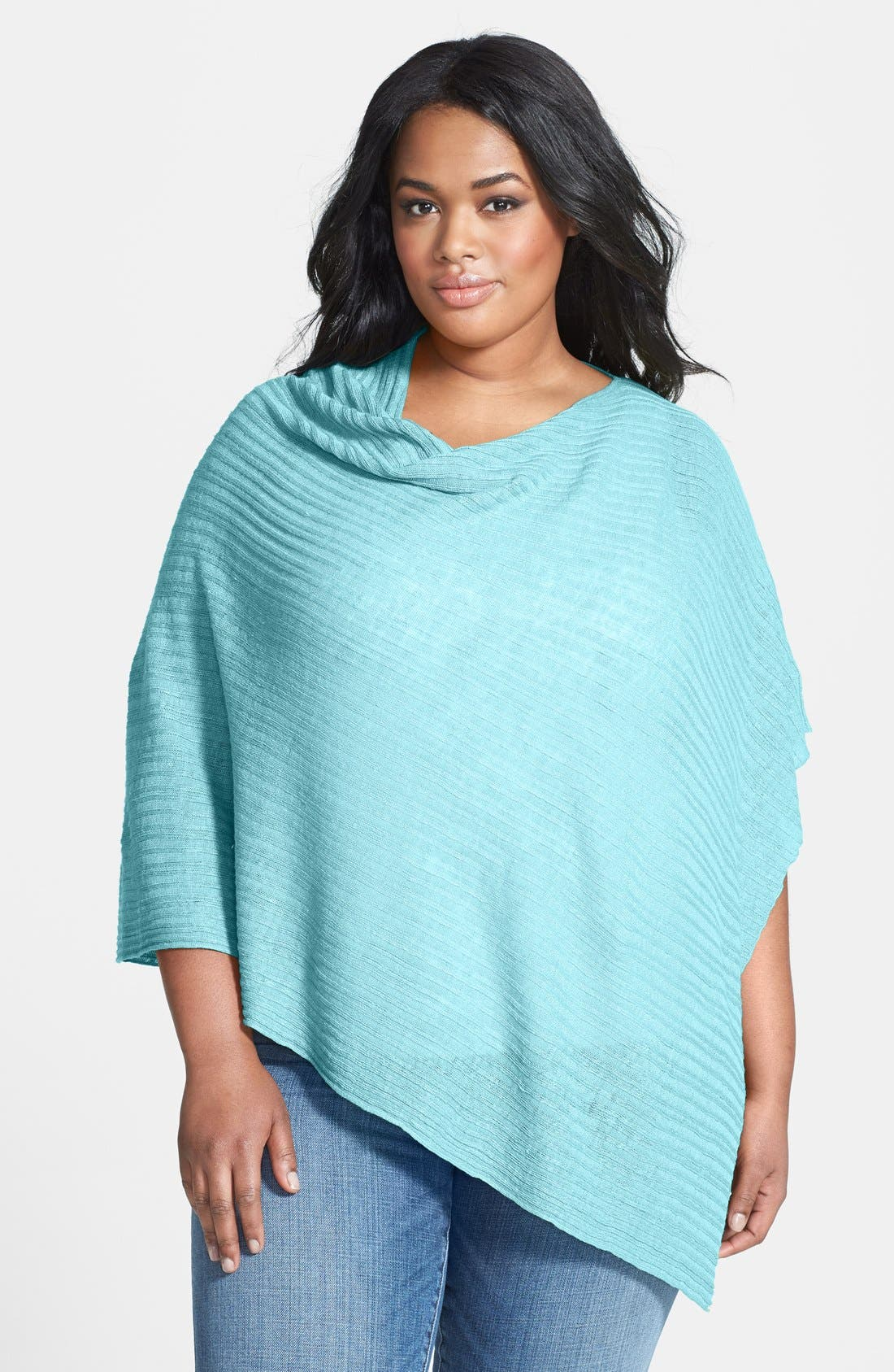Alternate Image 1 Selected - Eileen Fisher Organic Linen Poncho (Plus Size)