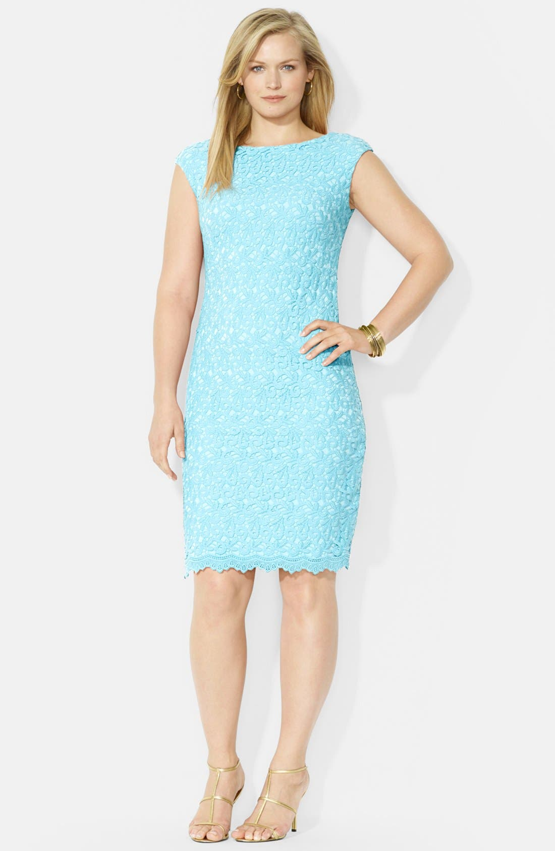 Main Image - Lauren Ralph Lauren Cotton Lace Sheath Dress (Plus Size)