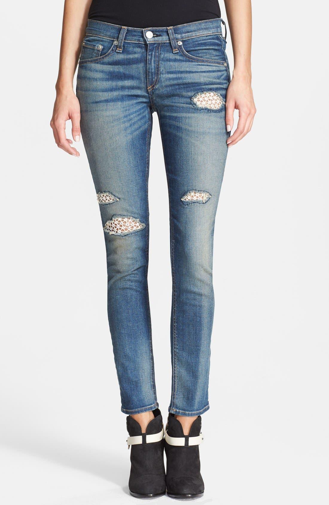 Main Image - rag & bone/JEAN Stretch Skinny Jeans (Crochet Lace)