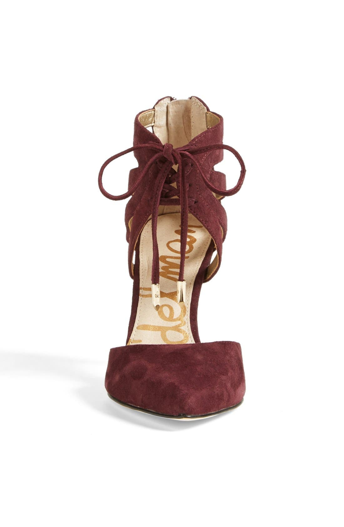 'Zachary' Cutout Ankle Cuff Suede Pump,                             Alternate thumbnail 3, color,                             Burgundy