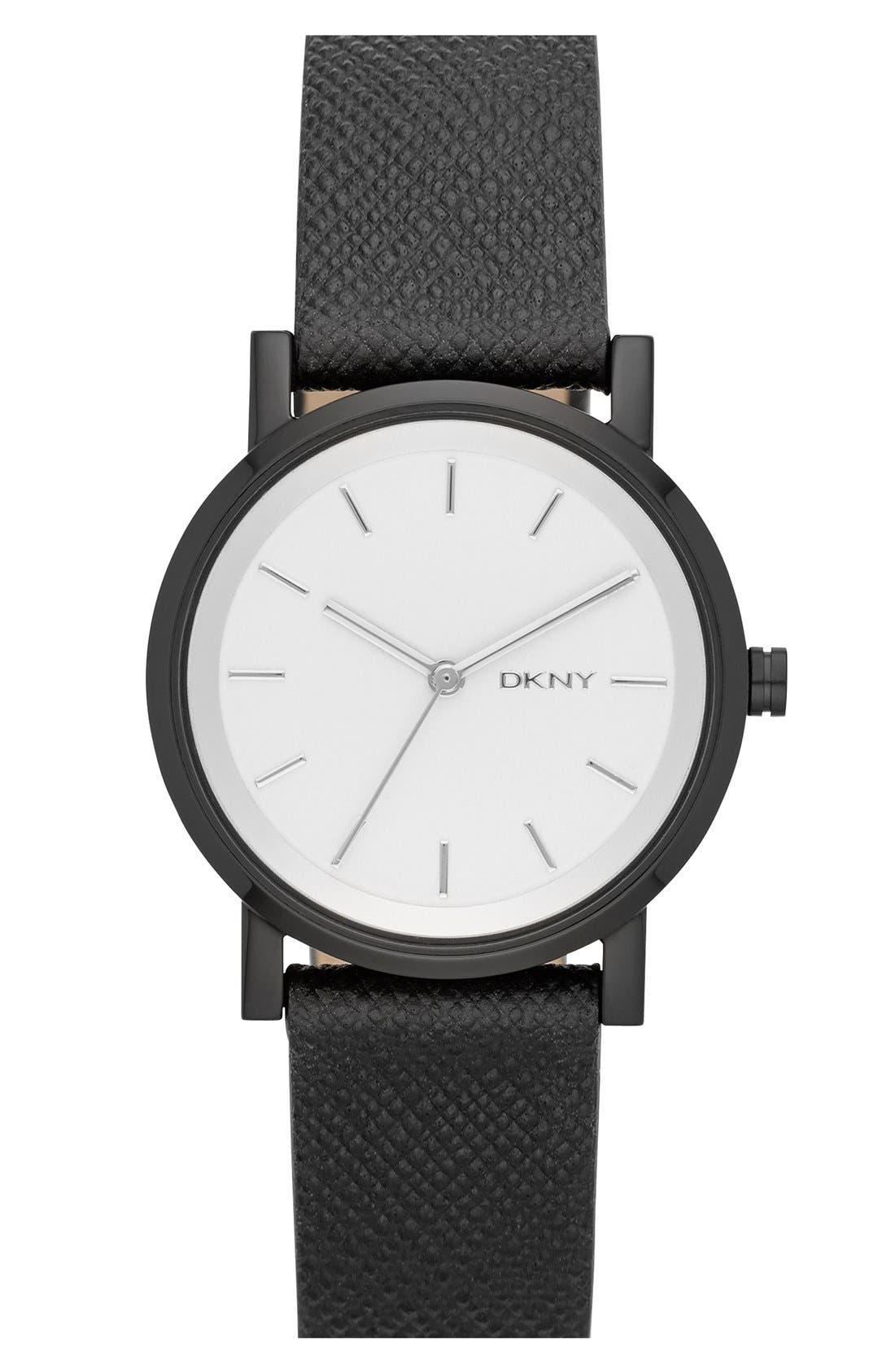Main Image - DKNY 'Soho' Round Leather Strap Watch, 34mm