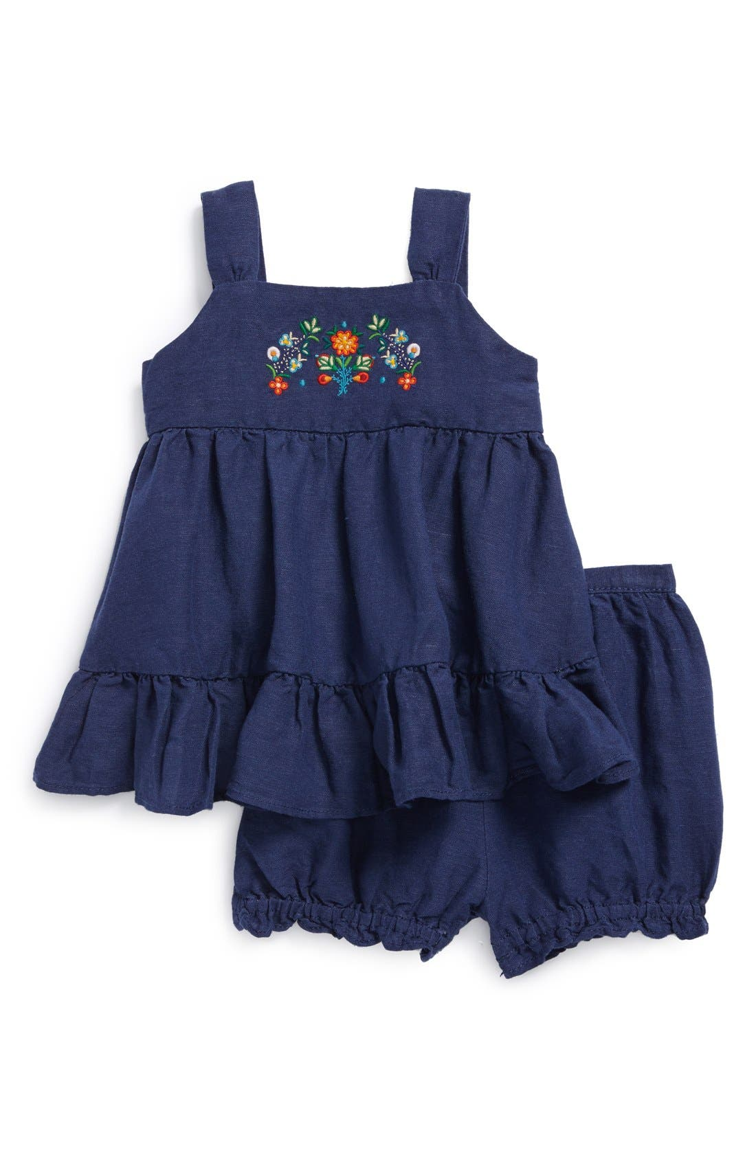 Alternate Image 1 Selected - Ralph Lauren Embroidered Dress & Diaper Cover (Baby Girls)
