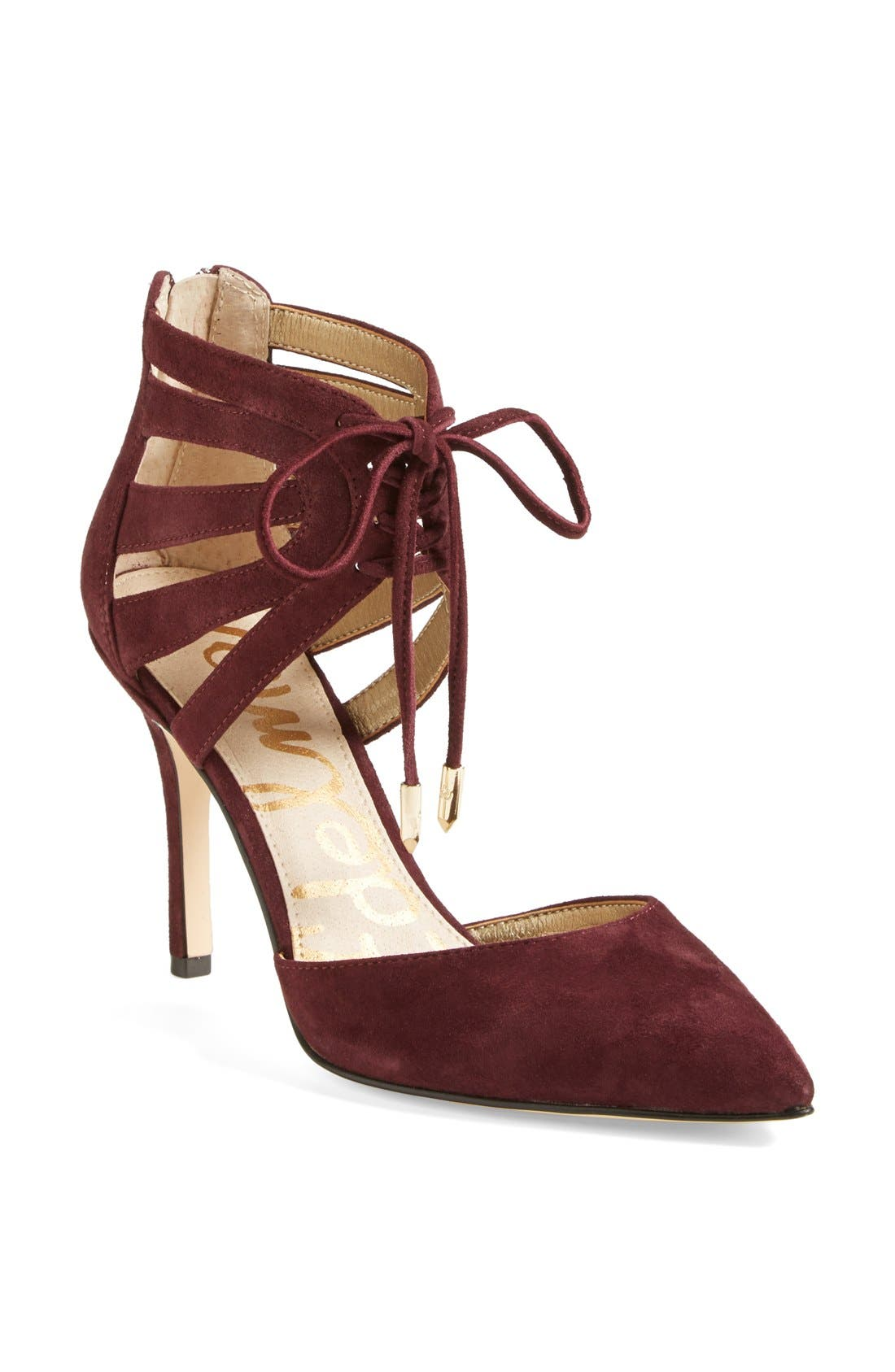 'Zachary' Cutout Ankle Cuff Suede Pump,                         Main,                         color, Burgundy