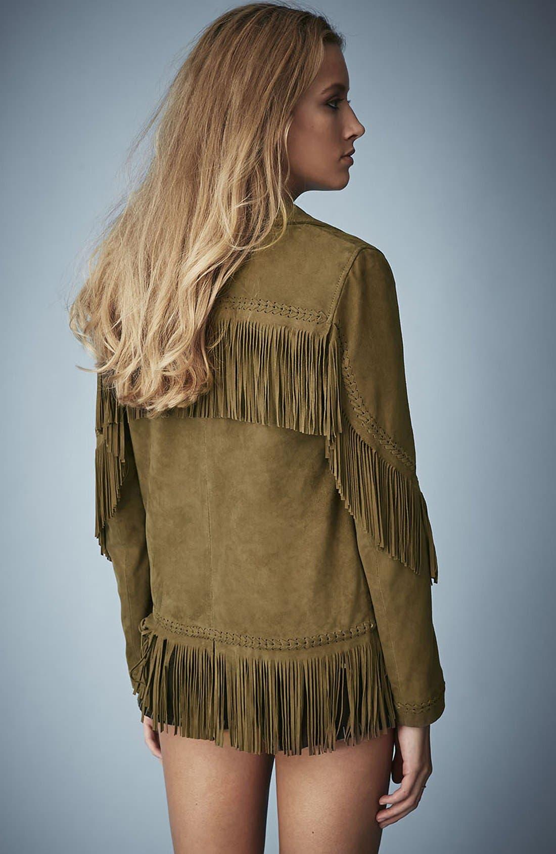 Kate Moss for Topshop Fringed Suede Jacket,                             Alternate thumbnail 2, color,                             Khaki