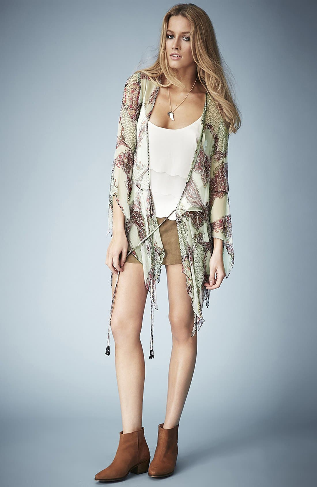 Alternate Image 5  - Kate Moss for Topshop Draped Paisley Tie Blouse