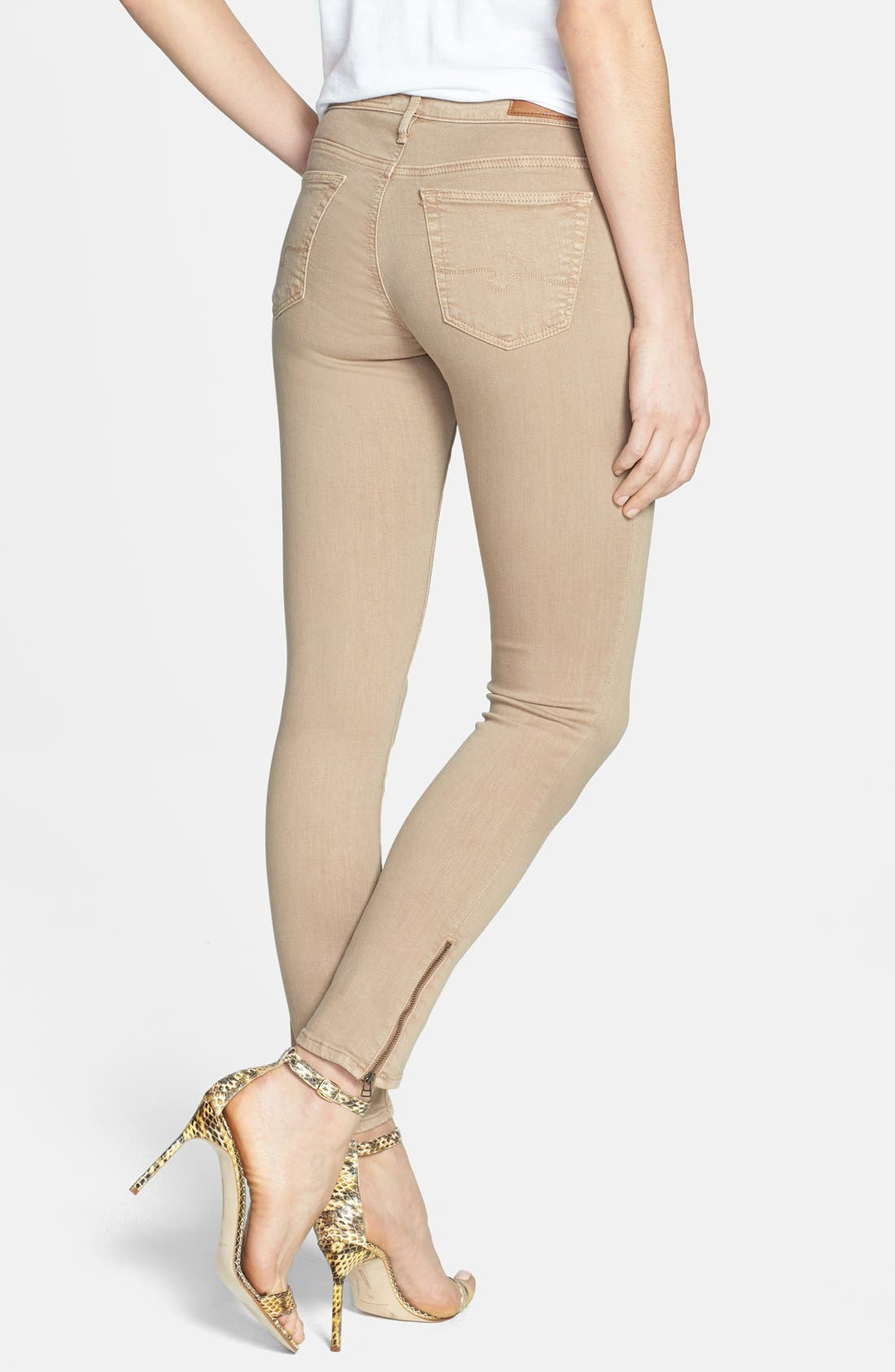 Alternate Image 4  - AG Zip Cuff Ankle Skinny Jeans