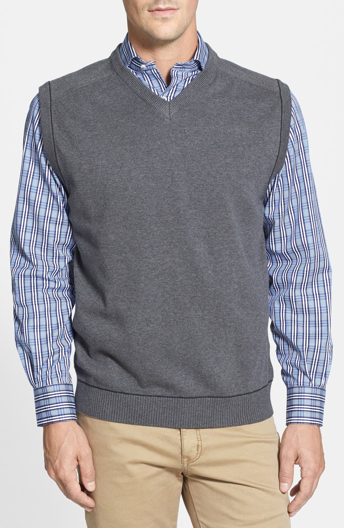 Broadview V-Neck Sweater Vest,                             Main thumbnail 1, color,                             Charcoal Heather