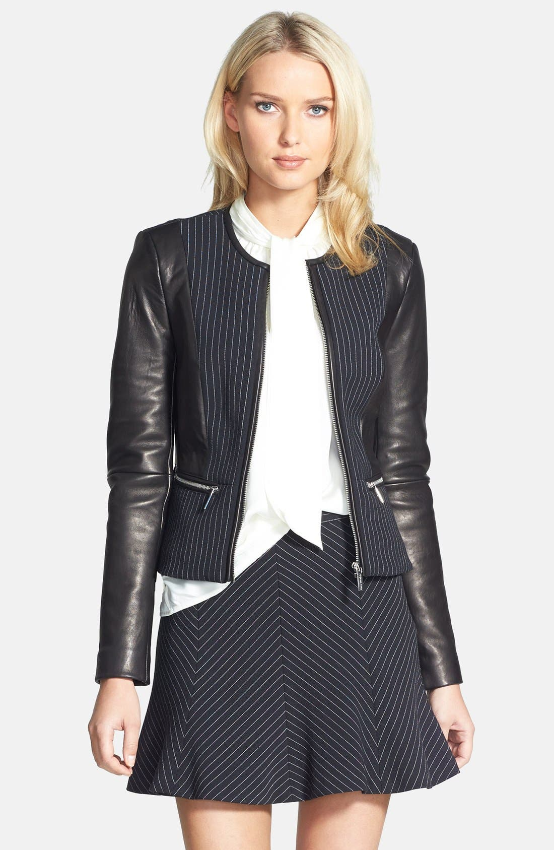 Alternate Image 1 Selected - MICHAEL Michael Kors Pinstripe & Faux Leather Zip Jacket