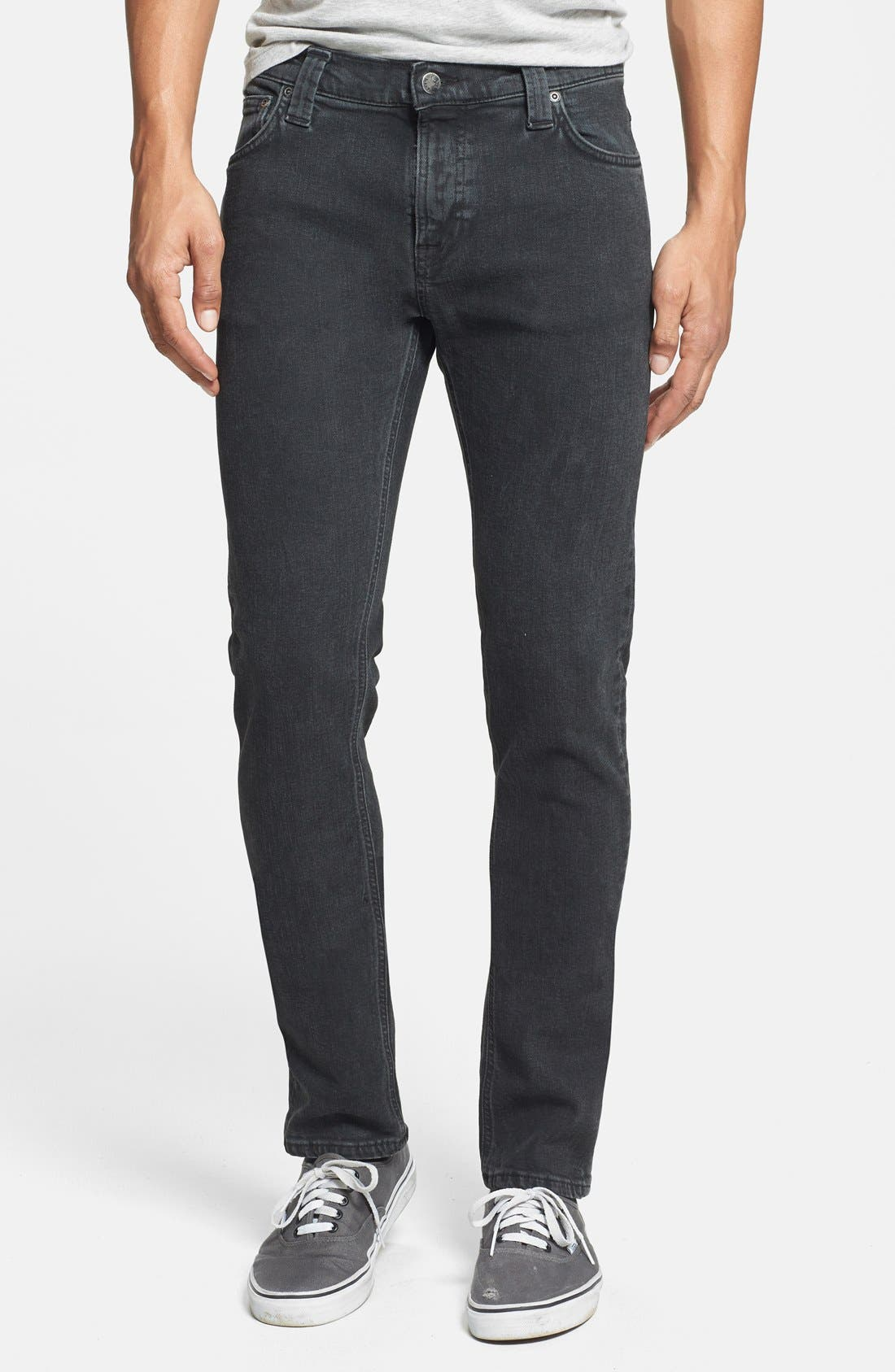 Alternate Image 1 Selected - Nudie Jeans 'Tube Tom' Skinny Fit Jeans (Organic Painted Black)