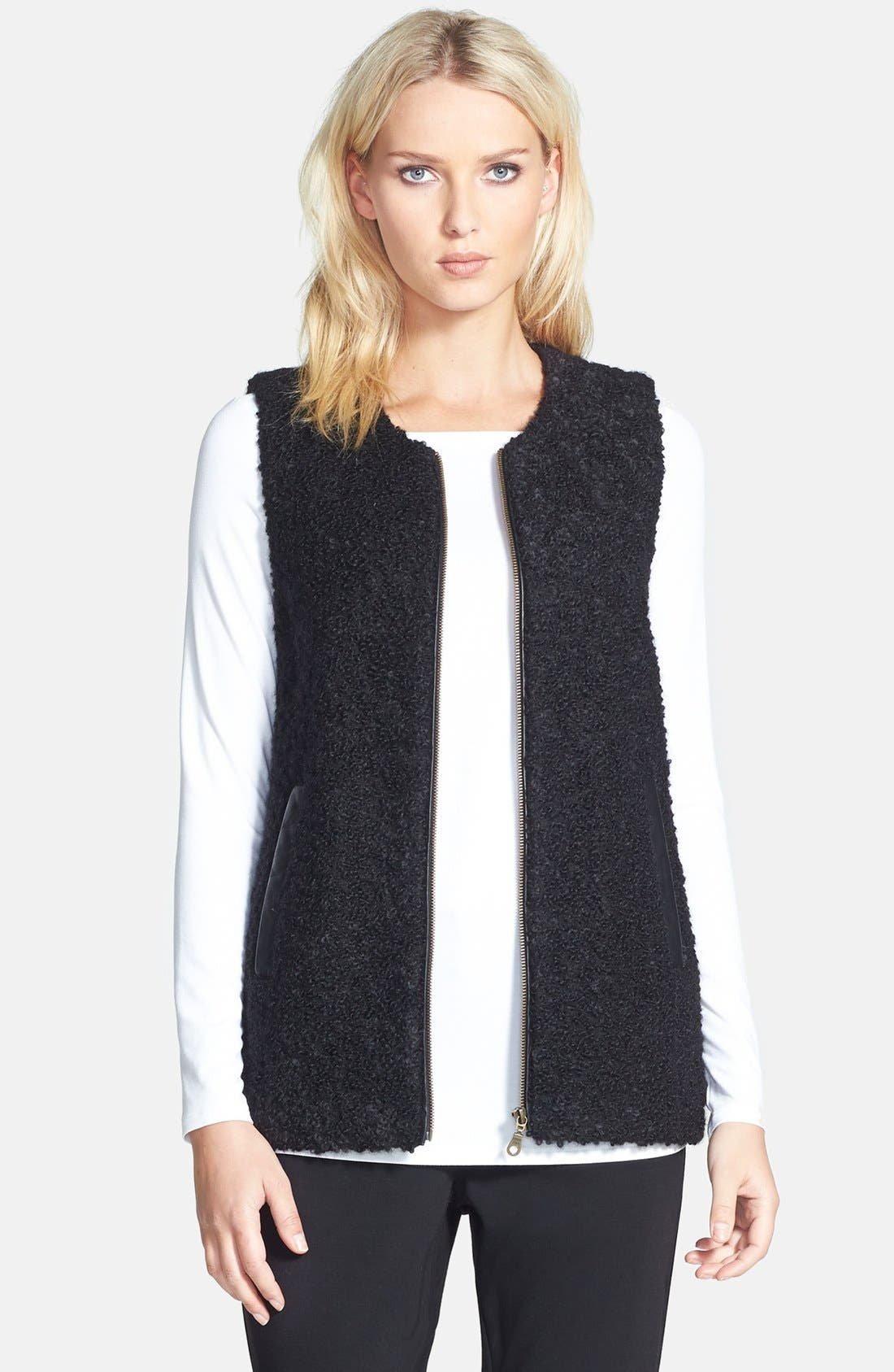 Leather Trim Alpaca Blend Vest,                         Main,                         color, Black