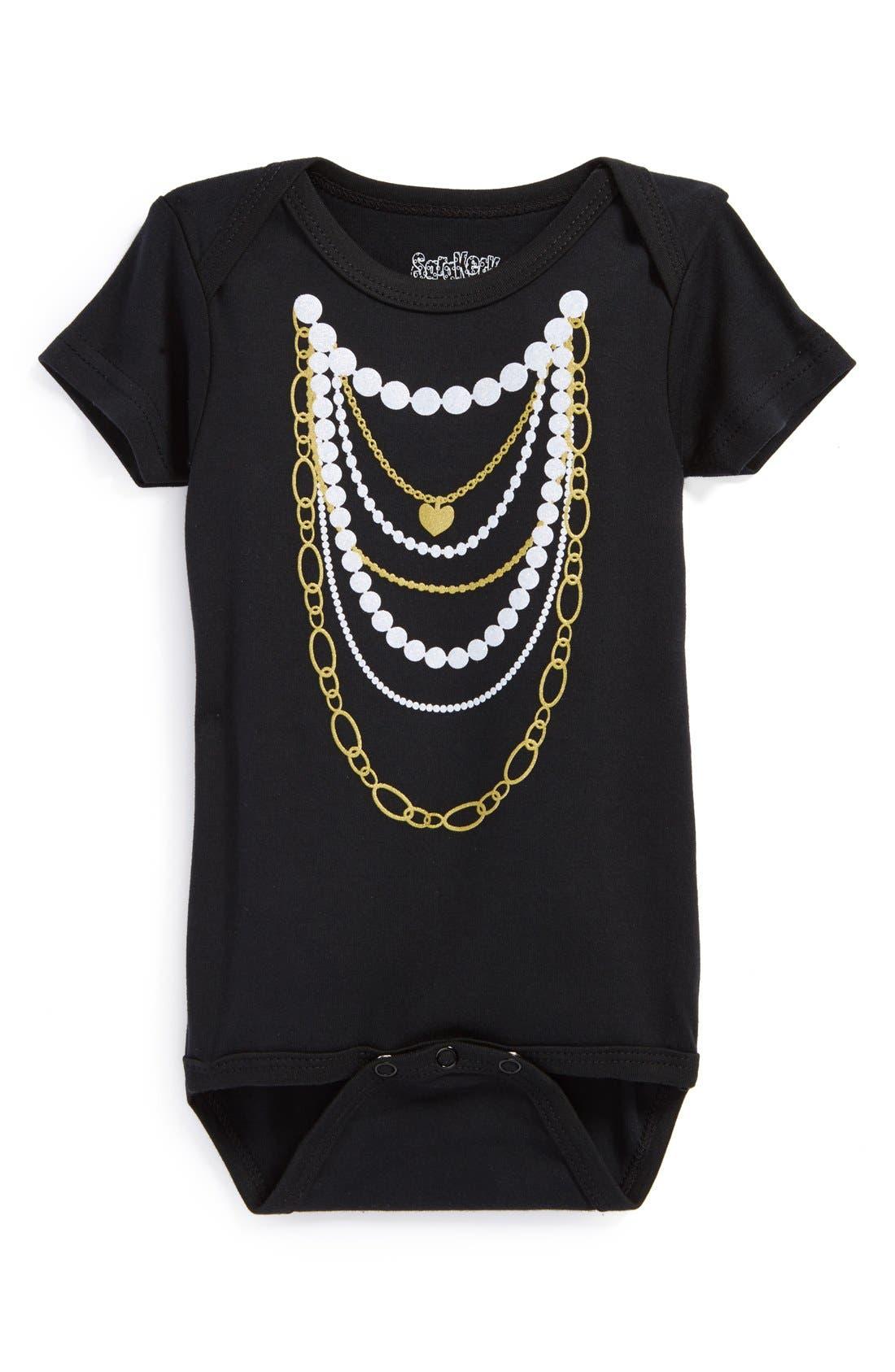 'Gold 'n Pearls' Short Sleeve Bodysuit,                         Main,                         color, Black